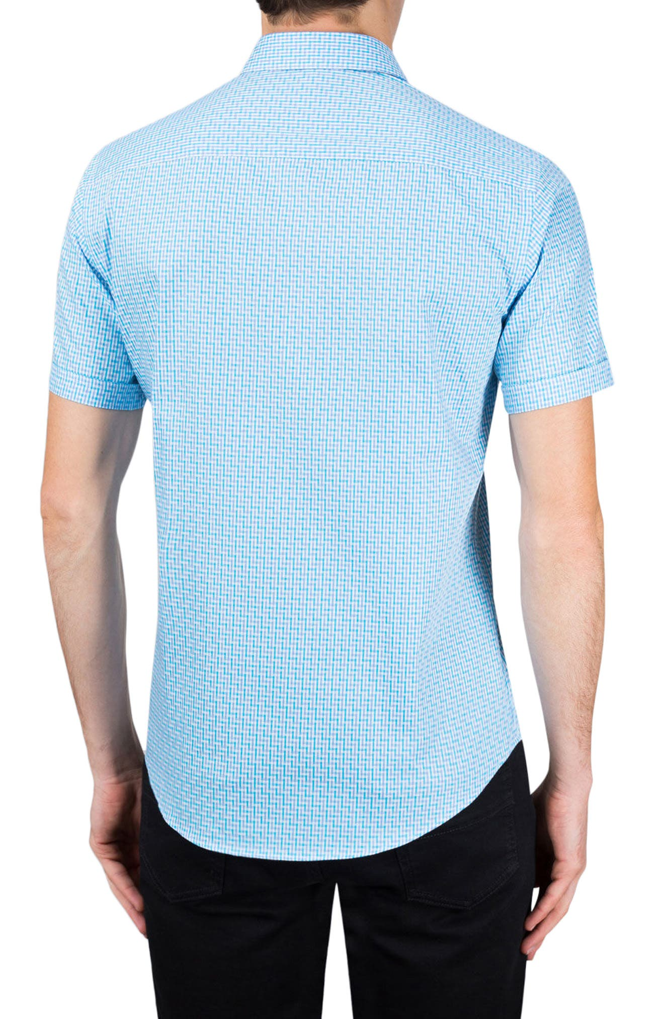 Classic Fit Check Sport Shirt,                             Alternate thumbnail 2, color,                             Turquoise