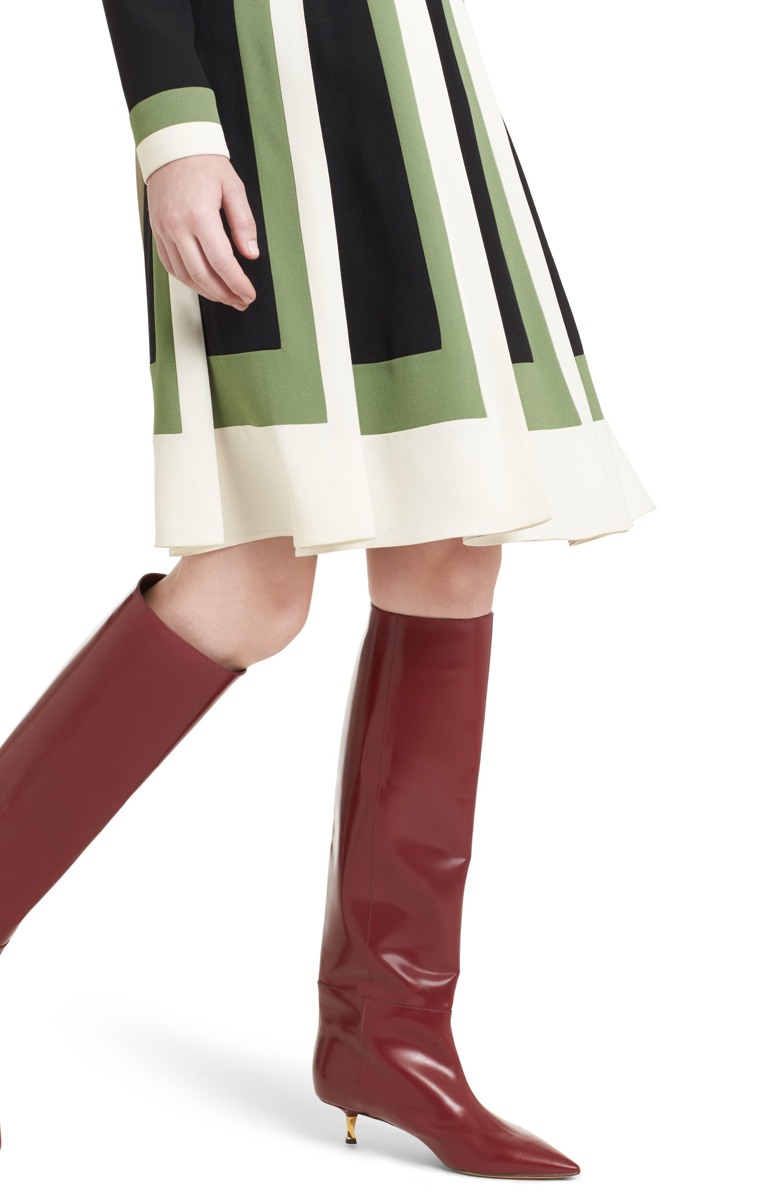 Multicolor Pleat Crepe Dress,                             Alternate thumbnail 5, color,                             Ivory/ Black/ Green
