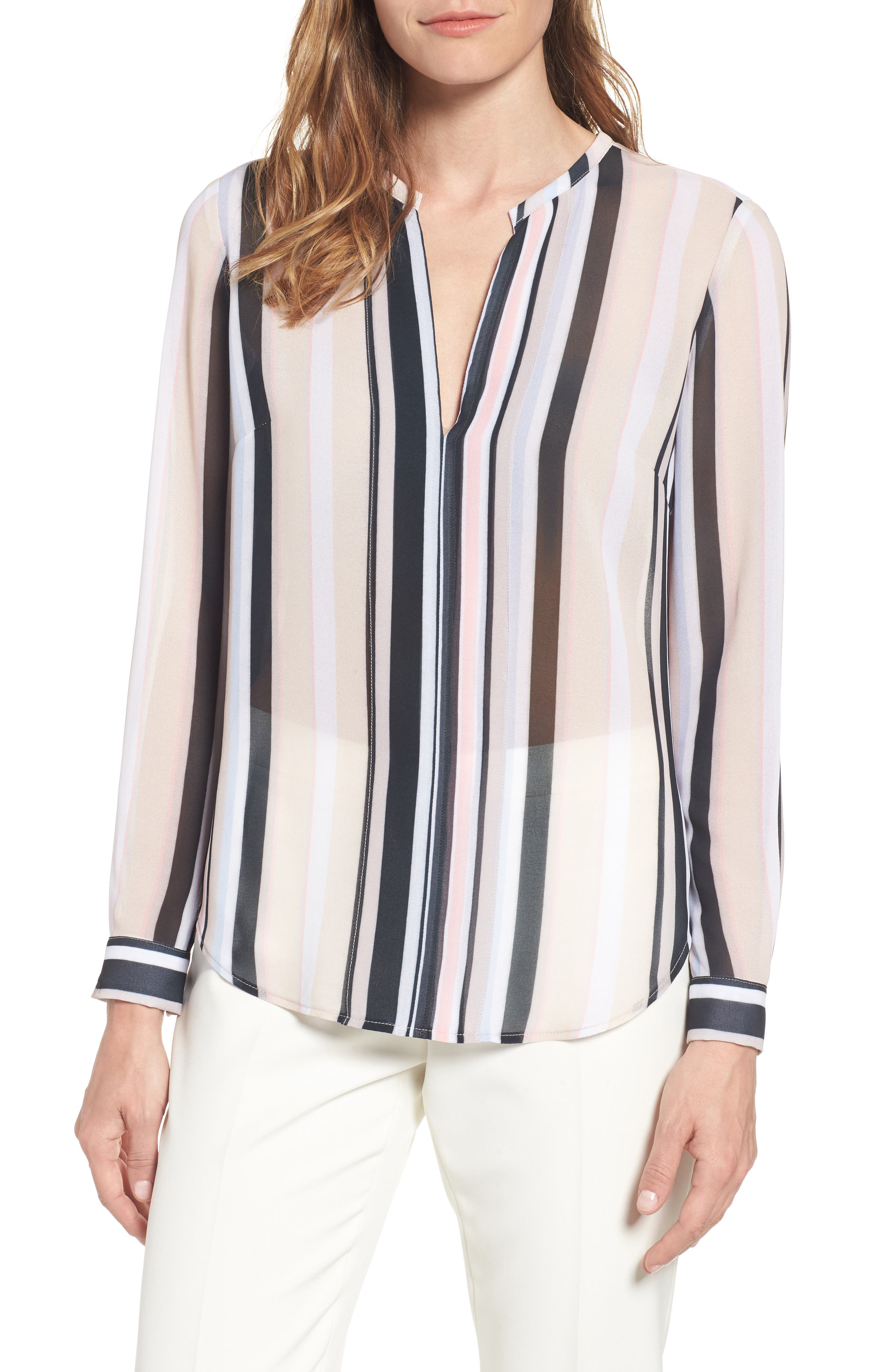 Alternate Image 1 Selected - Anne Klein Stripe Sheer Blouse