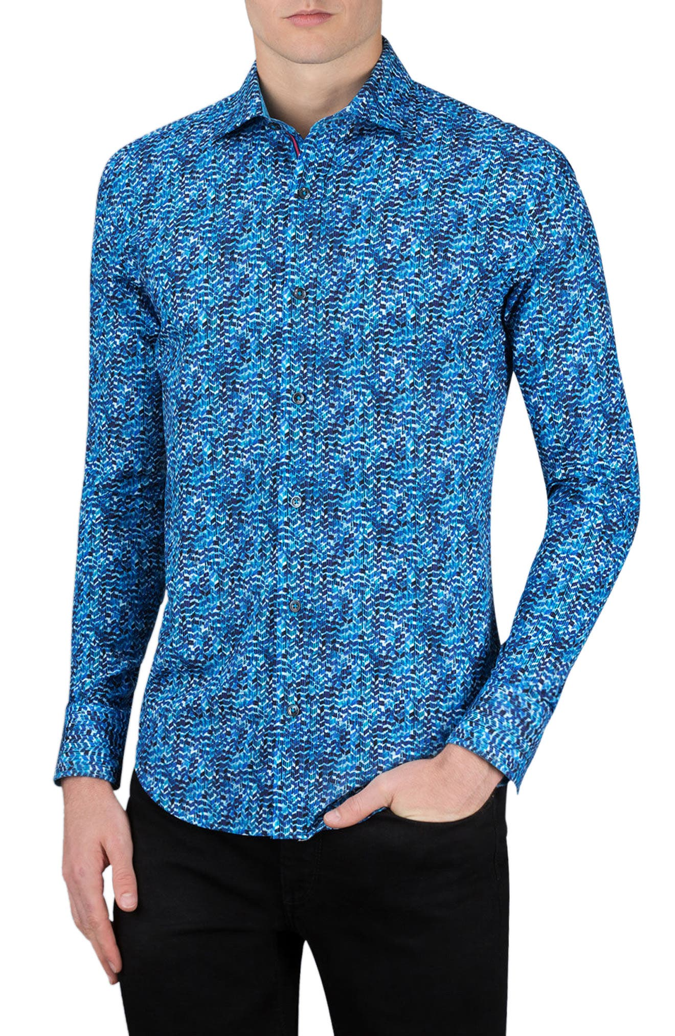 Shaped Fit Sport Shirt,                         Main,                         color, Night Blue