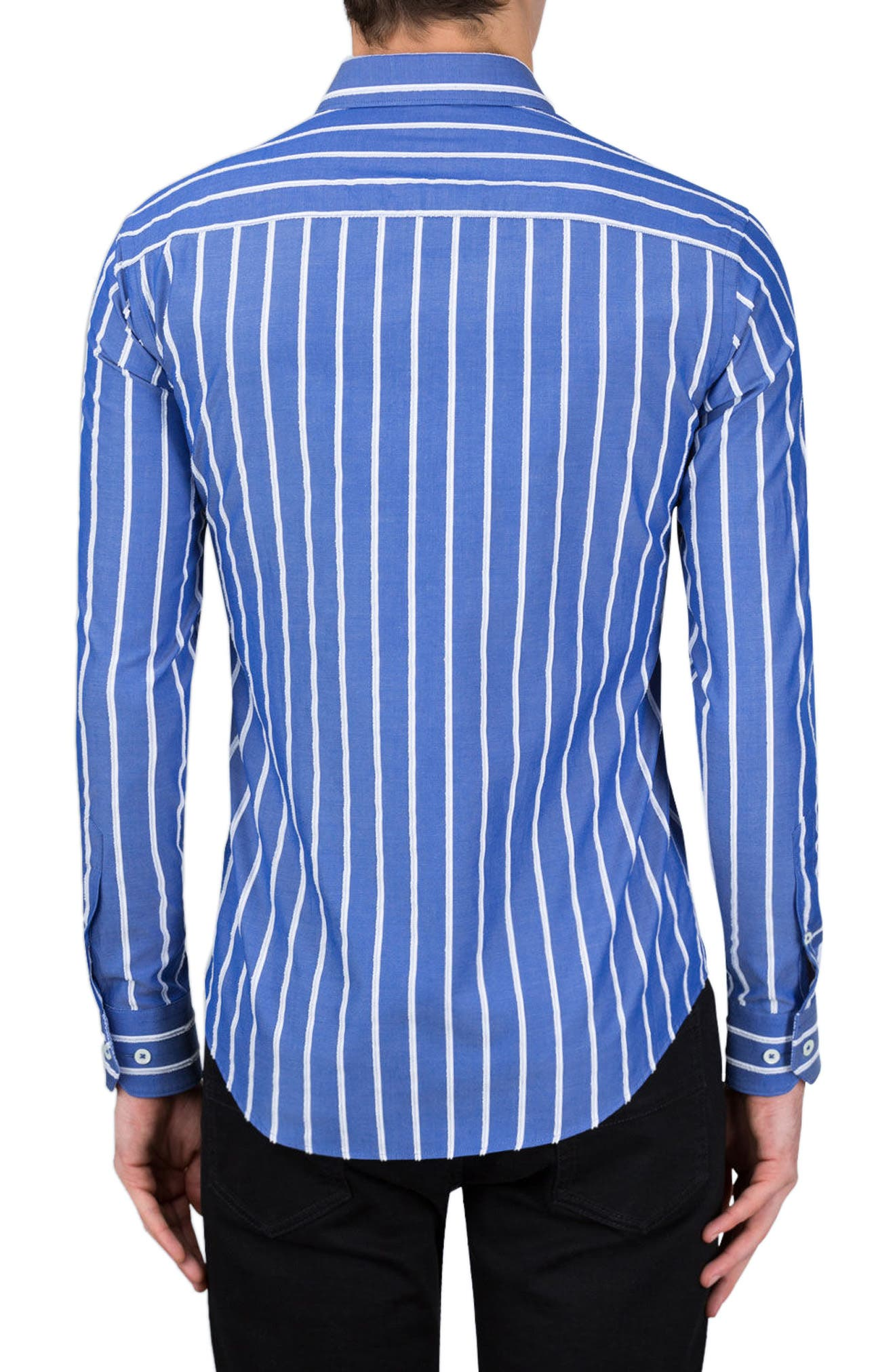 Classic Fit Vertical Stripe Sport Shirt,                             Alternate thumbnail 2, color,                             Night Blue