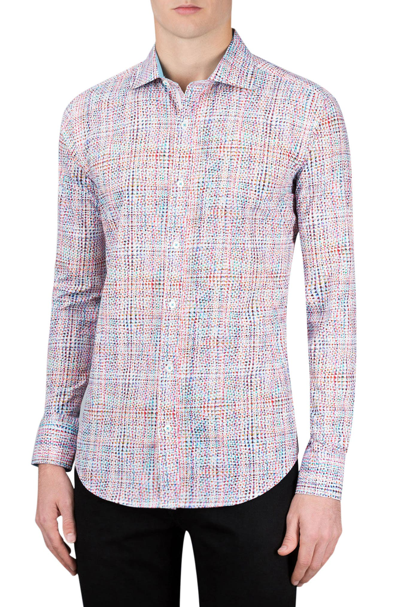 Shaped Fit Geo Print Sport Shirt,                             Main thumbnail 1, color,                             Candy