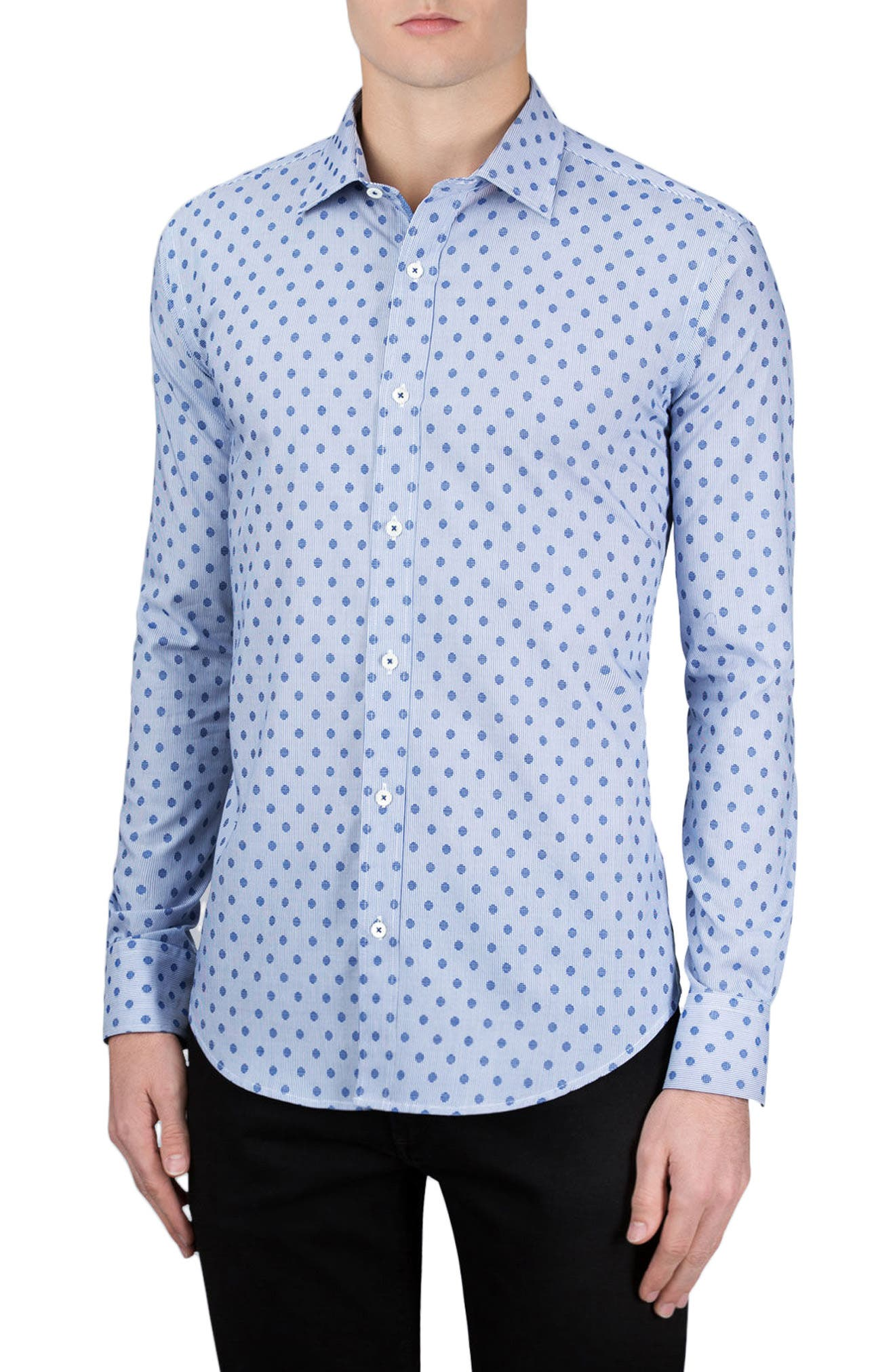 Classic Fit Dotted Sport Shirt,                         Main,                         color, Night Blue