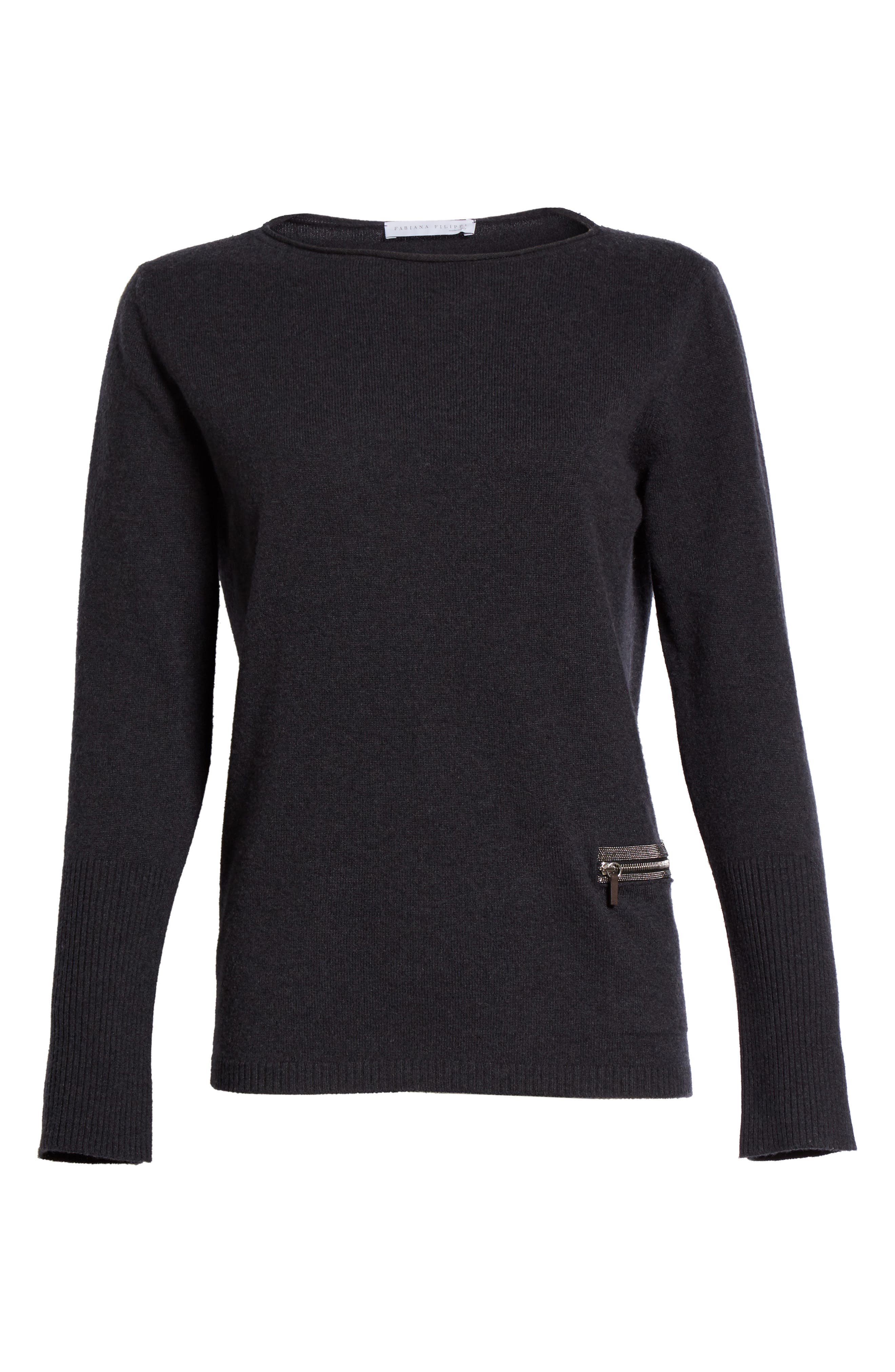 Wool, Silk & Cashmere Boatneck Sweater,                             Alternate thumbnail 4, color,                             Charcoal Navy