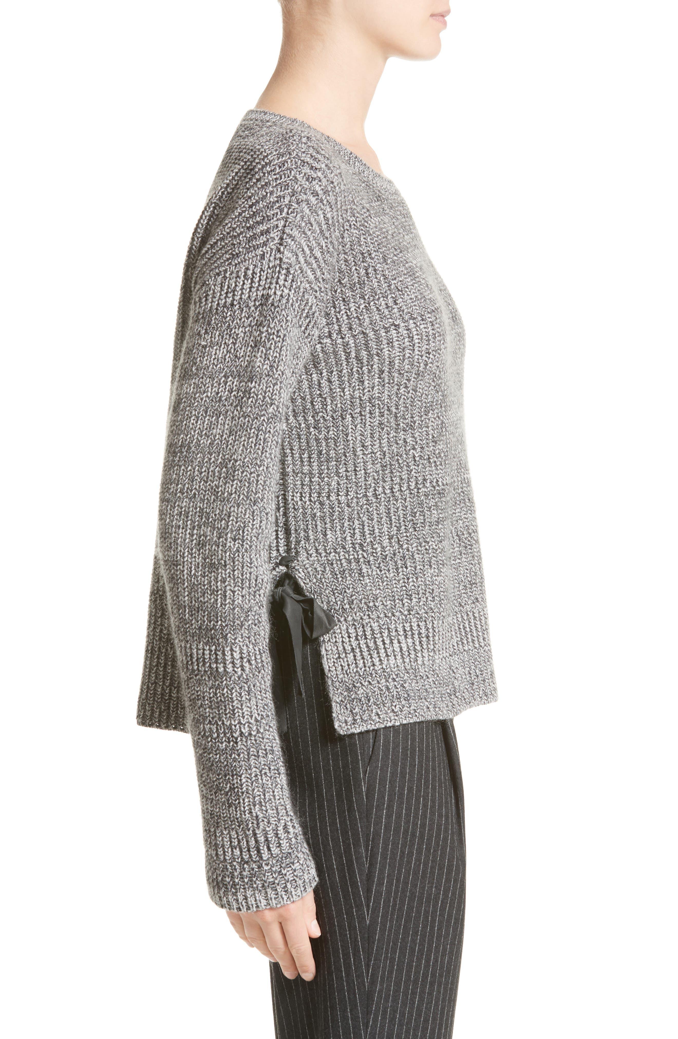 Herringbone Stitch Wool Blend Sweater,                             Alternate thumbnail 5, color,                             Grey Multi