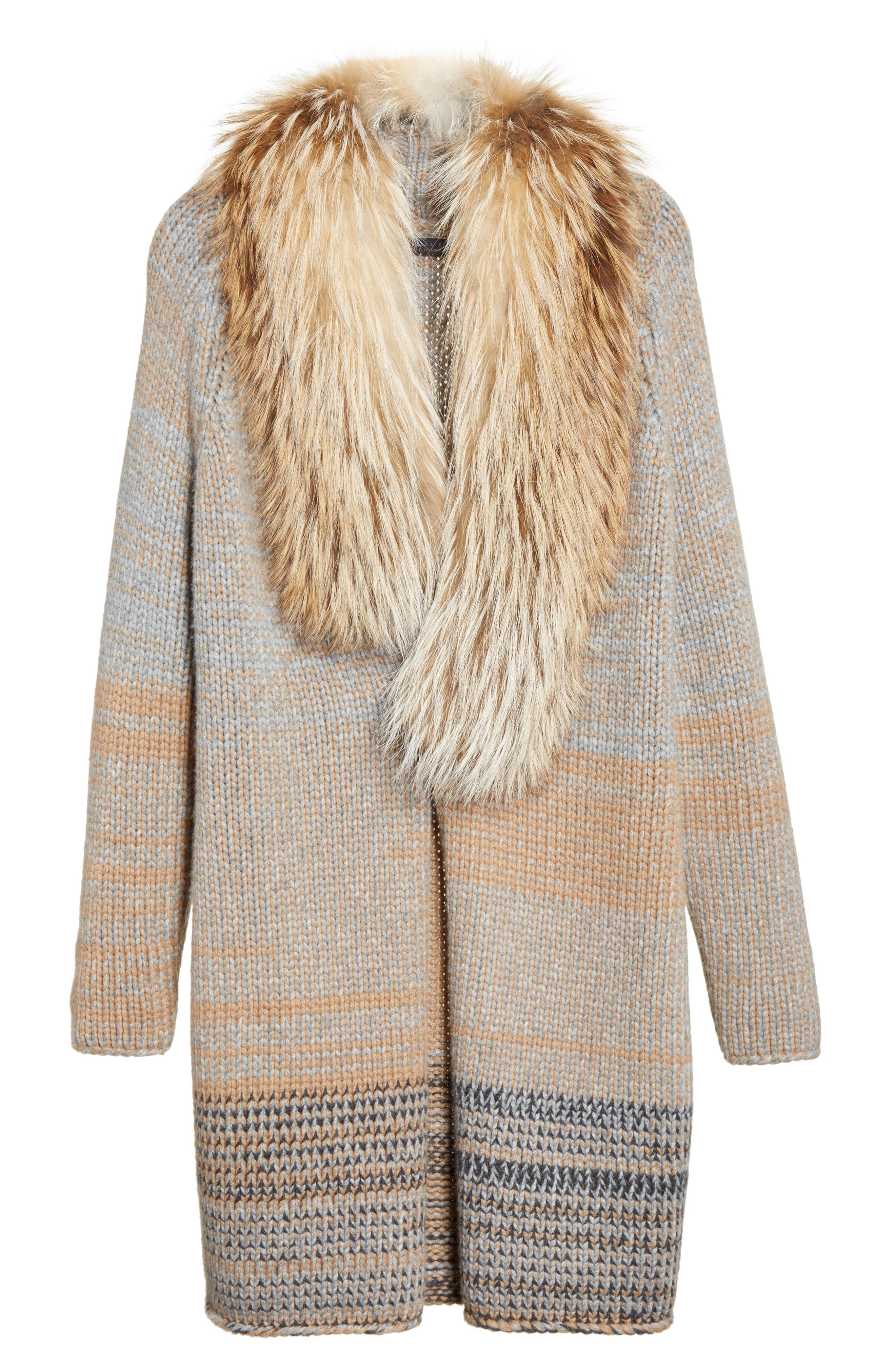 Cashmere Cardigan with Removable Genuine Fox Fur Collar,                             Alternate thumbnail 5, color,                             Camel / Grey Multi