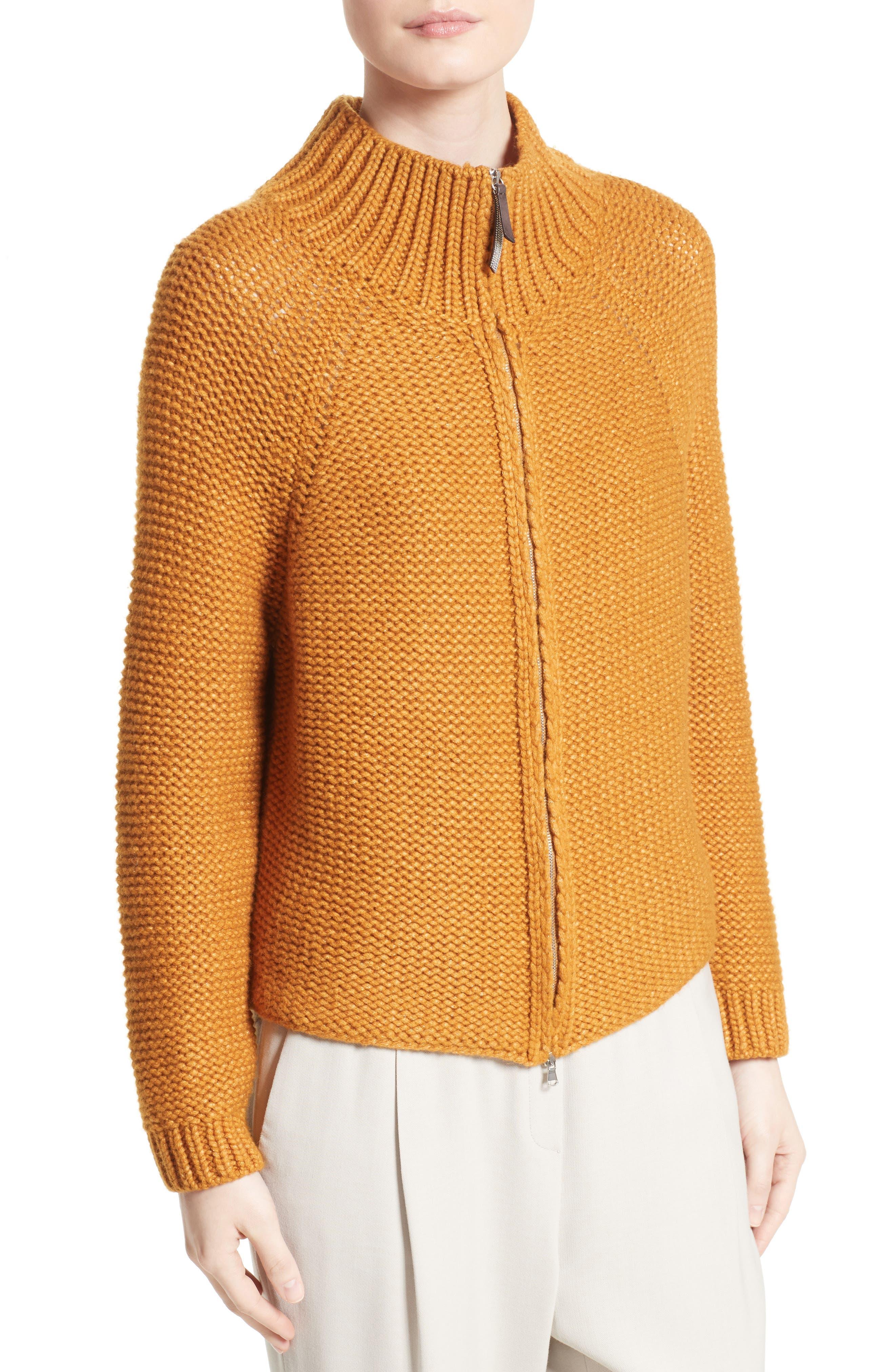 Knit Wool Blend Cardigan,                             Alternate thumbnail 6, color,                             Amber