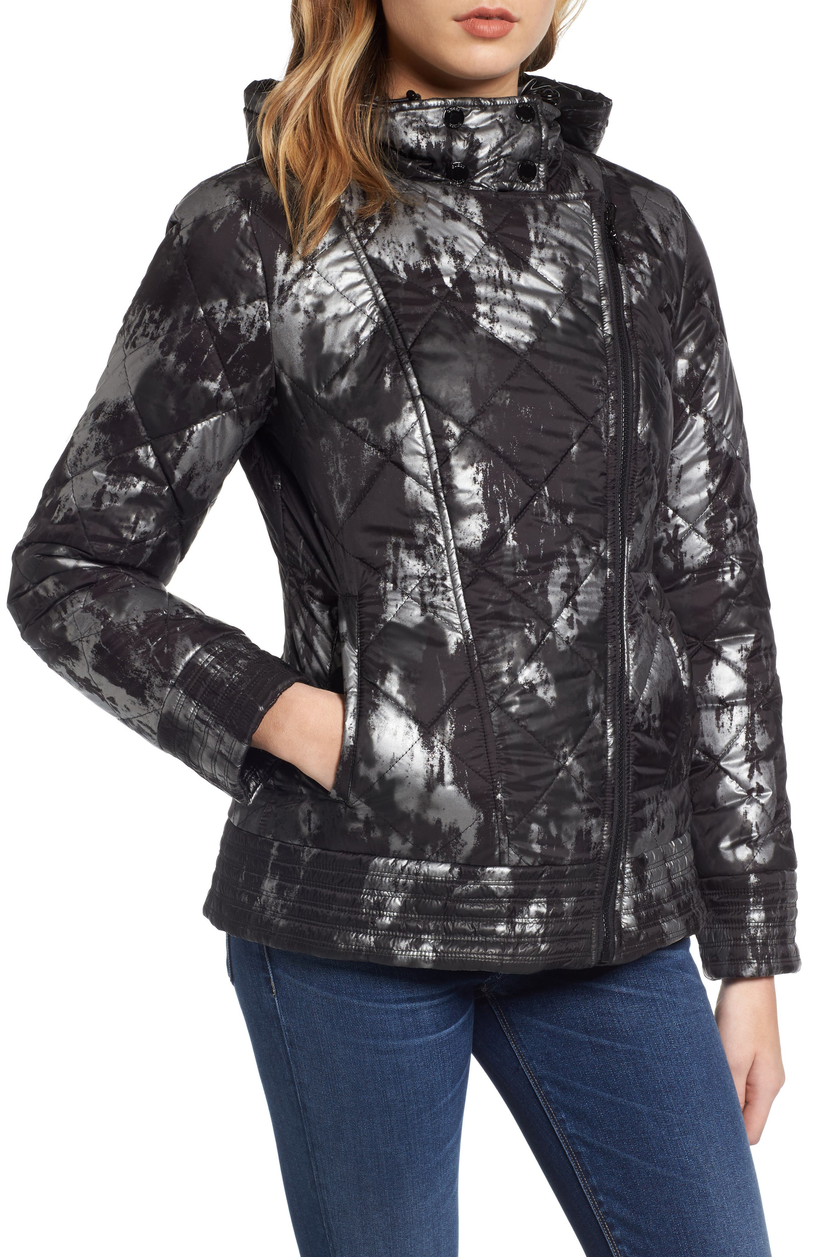 Reversible Packable Asymmetrical Quilted Jacket,                             Alternate thumbnail 4, color,                             Black/ Silver
