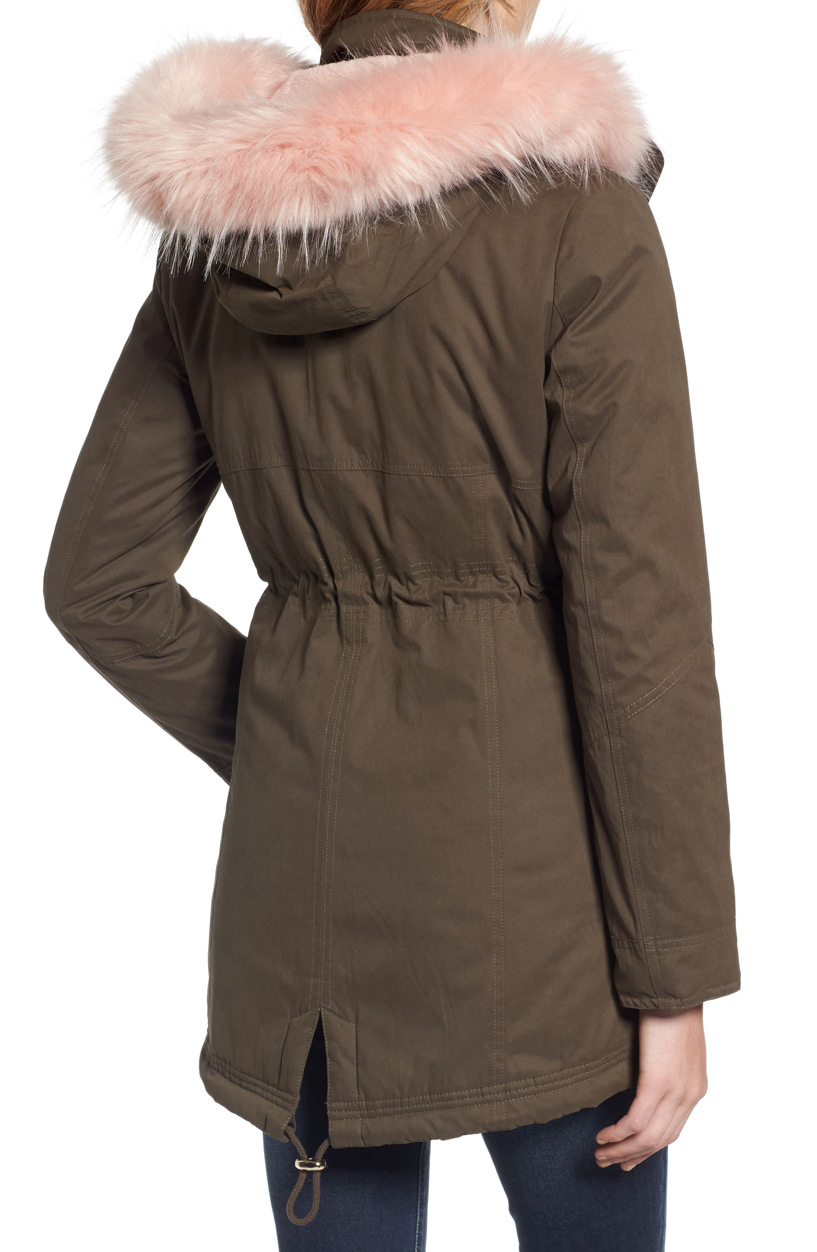 Parka with Removable Faux Fur Trim Hood,                             Alternate thumbnail 2, color,                             Olive/ Pink Fur