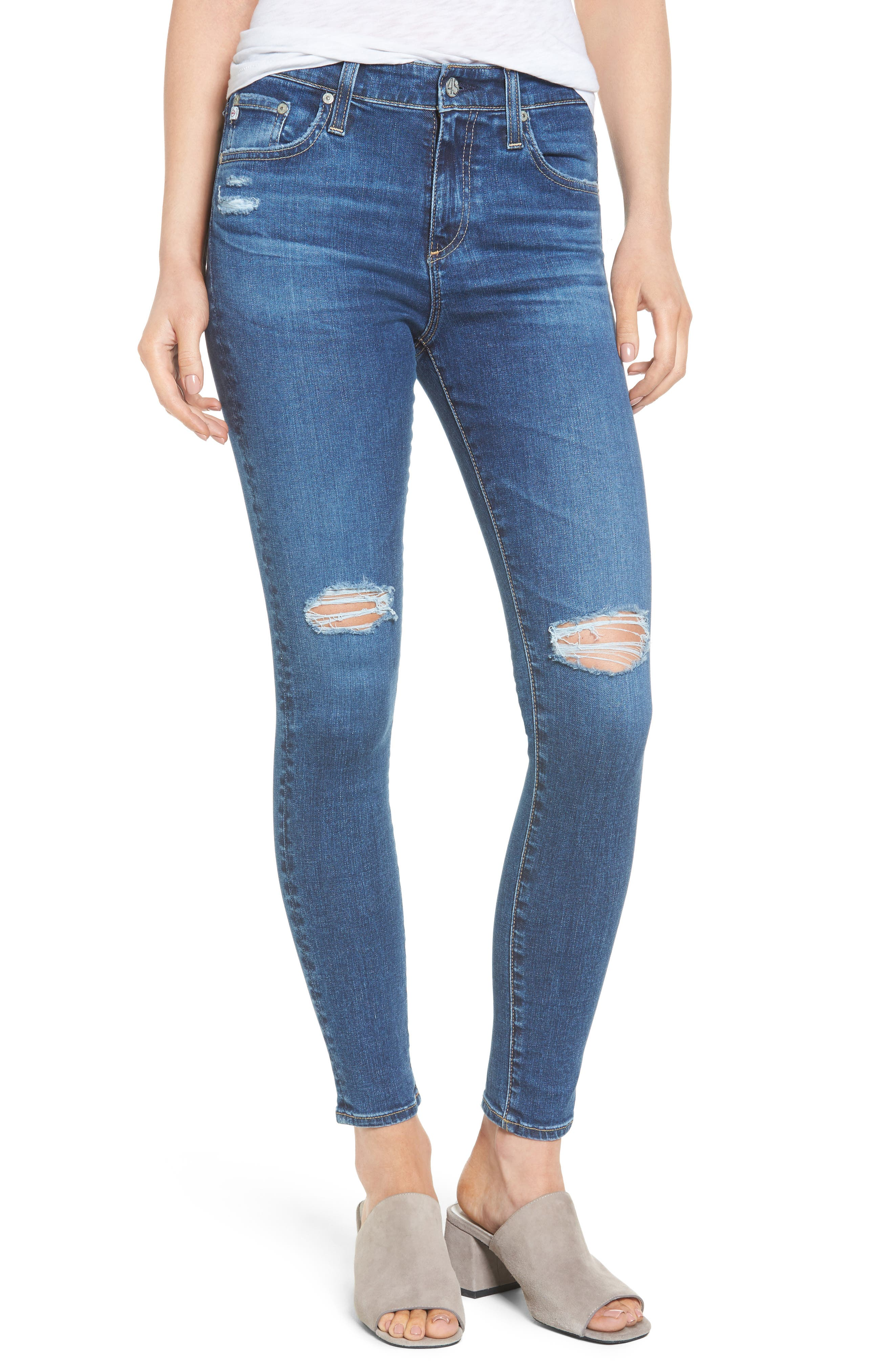 Main Image - AG The Farrah High Waist Ankle Skinny Jeans (13 Years Day Break Destroyed)