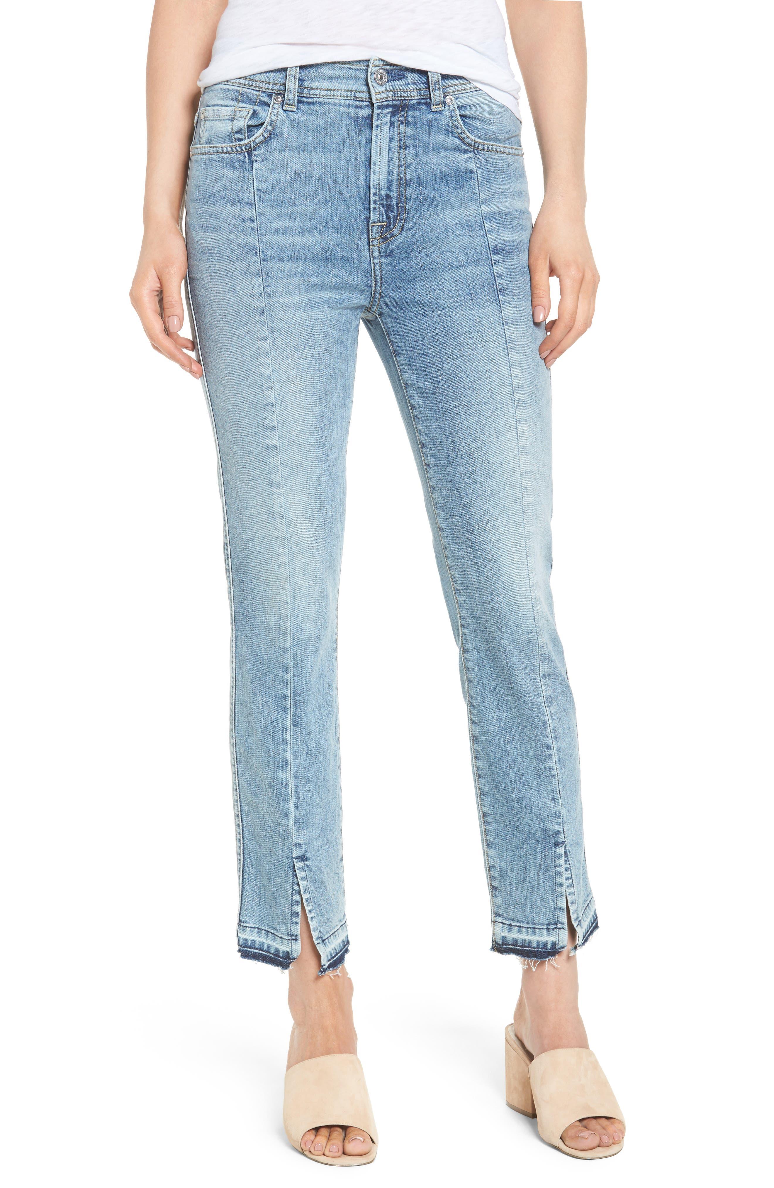 Main Image - 7 For All Mankind® Release Hem Ankle Skinny Jeans (Rockaway Beach)