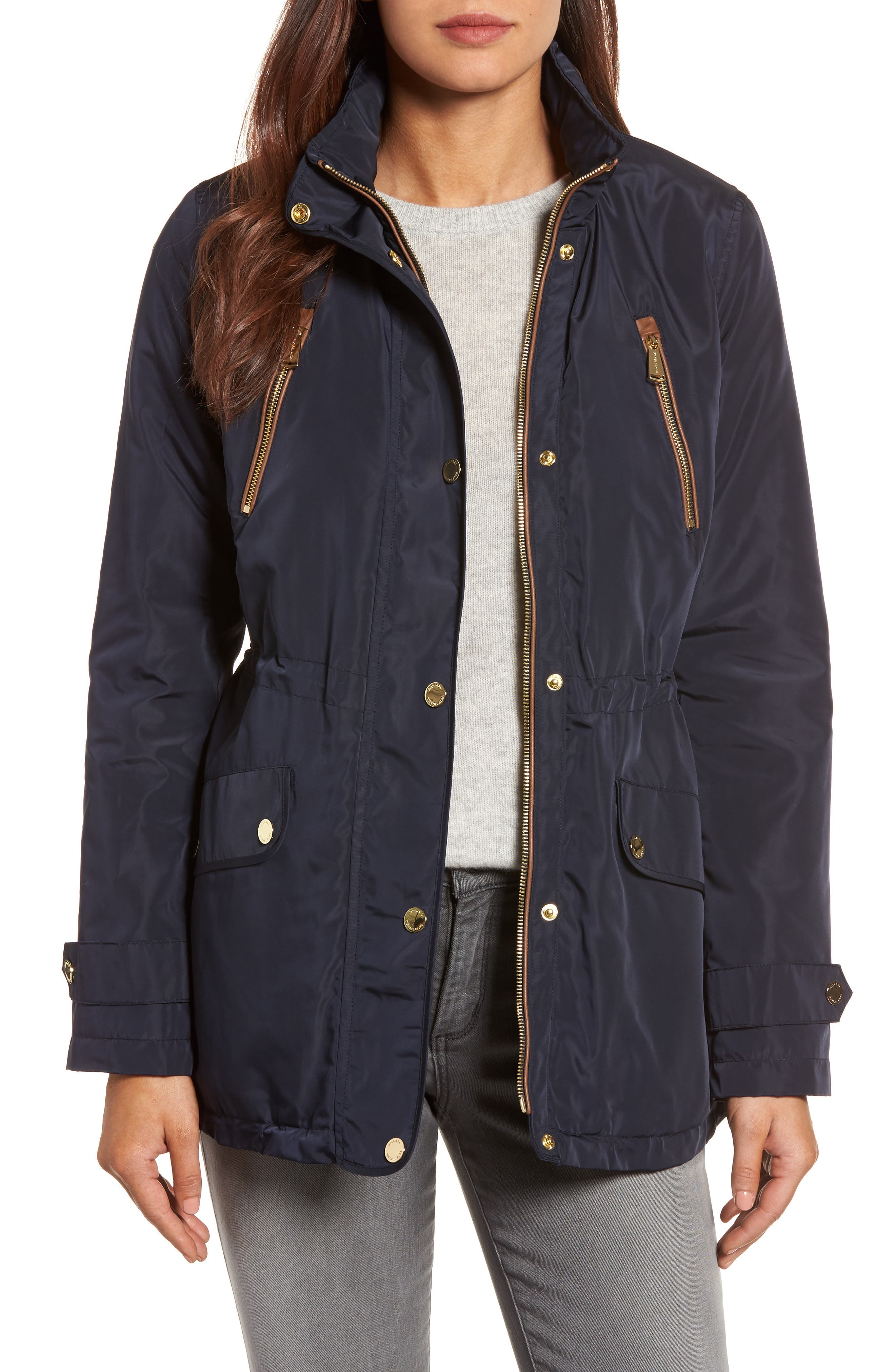 Faux Leather Trim Anorak,                         Main,                         color, Navy