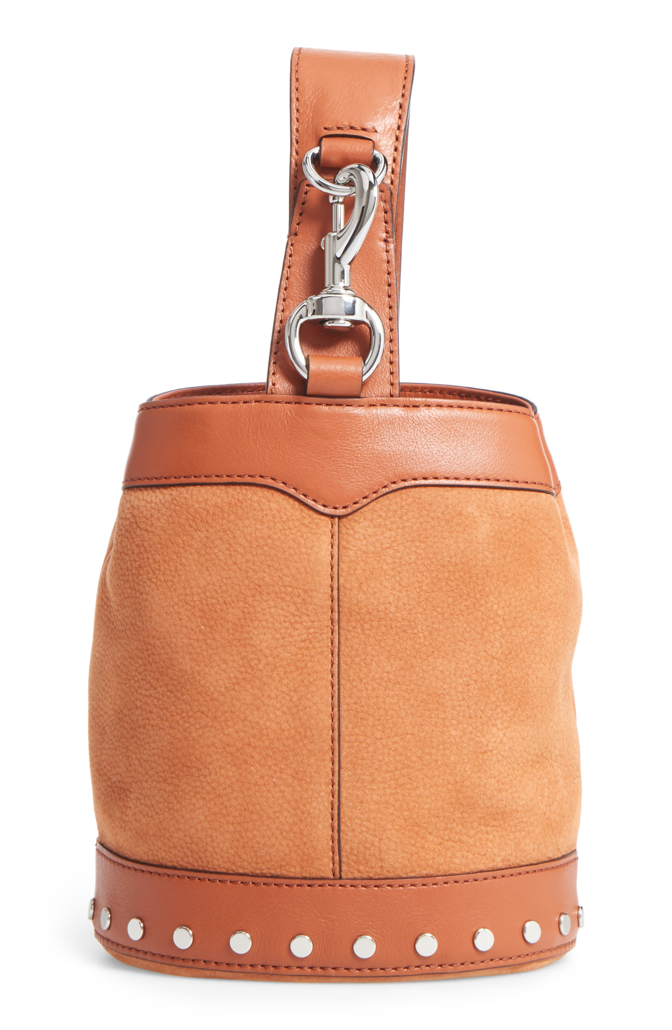 Mini Mission Leather Bucket Bag,                         Main,                         color, Almond