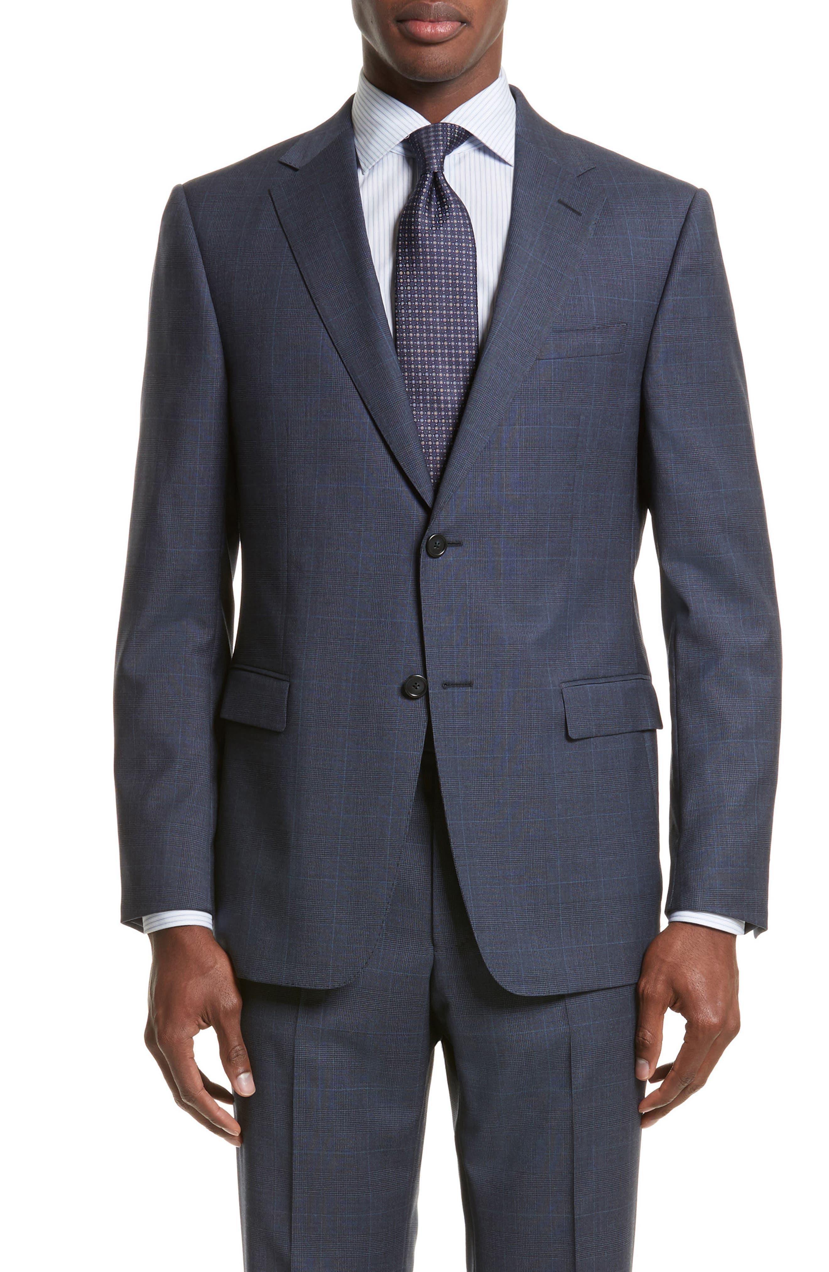 Drop 7 Trim Fit Plaid Wool Suit,                             Alternate thumbnail 5, color,                             Navy