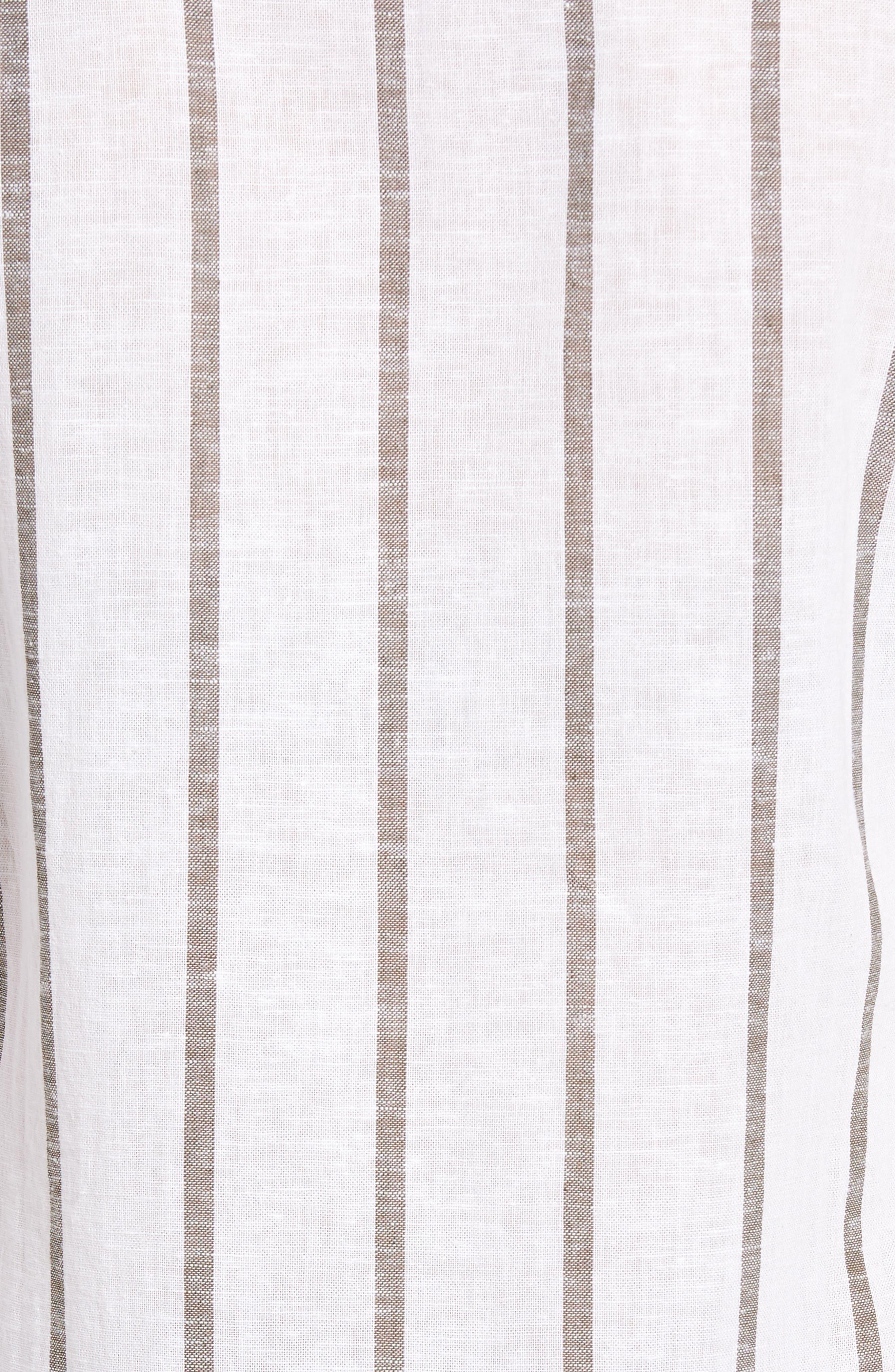 Stripe Tunic Shirt,                             Alternate thumbnail 5, color,                             White/ Olive