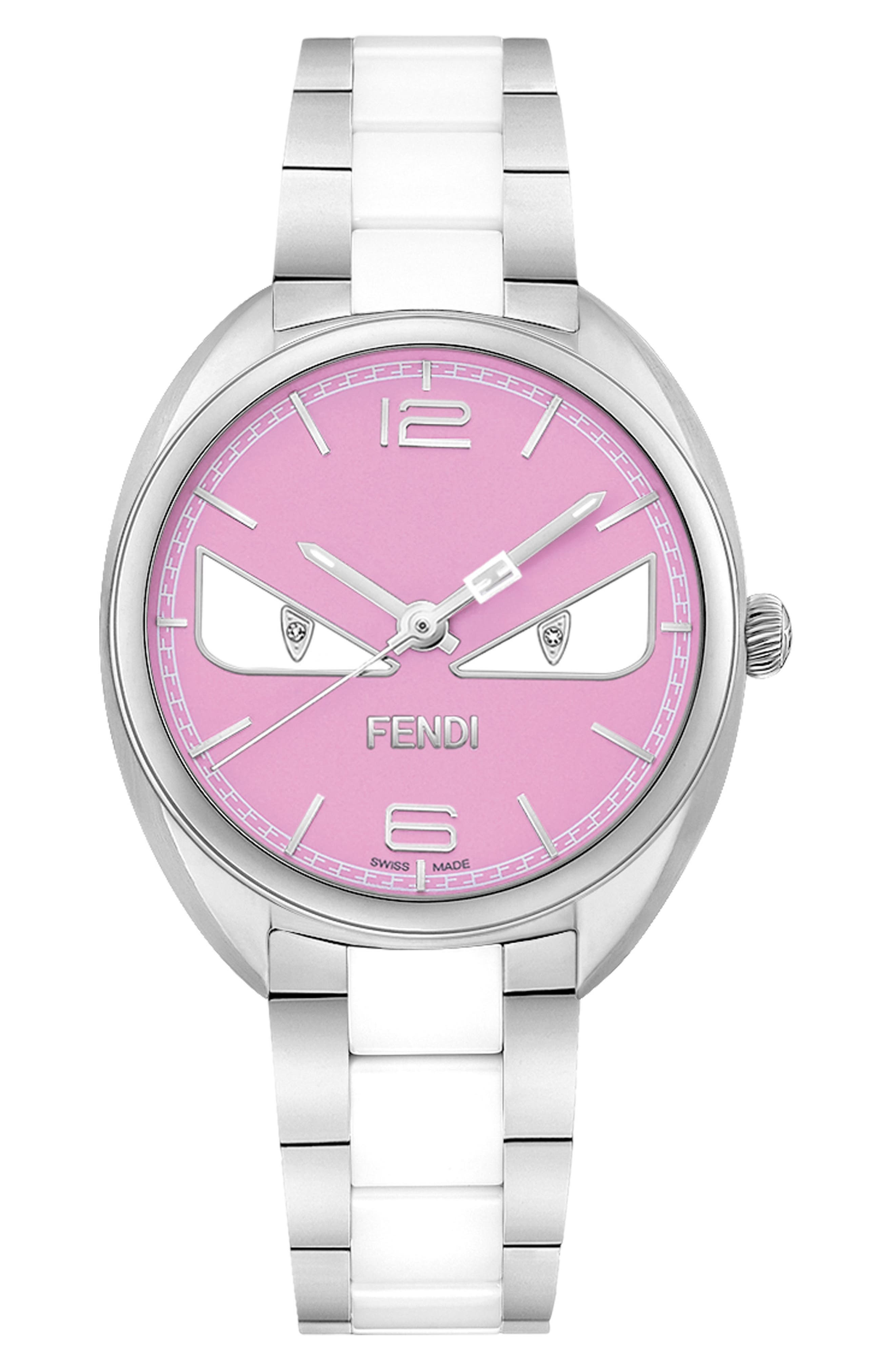 Momento Bug Bracelet Watch, 34mm,                             Main thumbnail 1, color,                             Silver/ Pink/ Silver