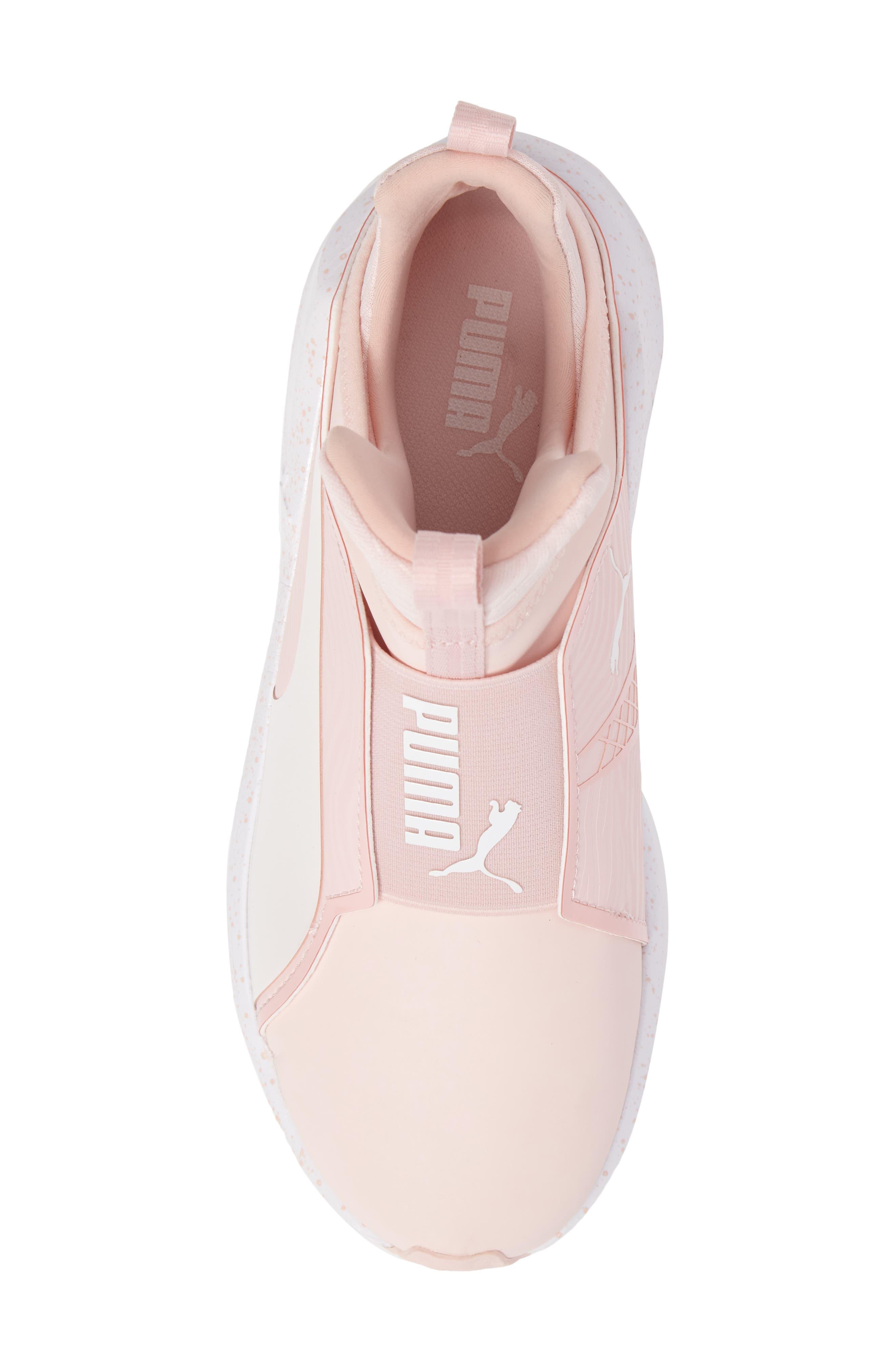Fierce Bleached High Top Sneaker,                             Alternate thumbnail 5, color,                             Veiled Rose/ Whisper White