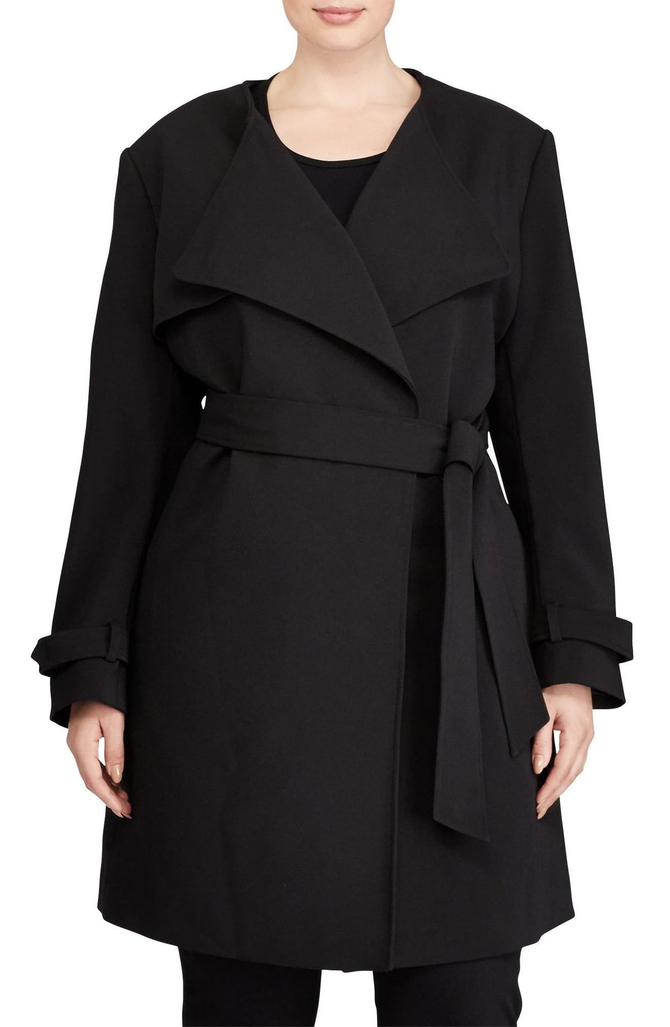 Lauren Ralph Lauren Crepe Drape Front Trench Coat (Plus Size)