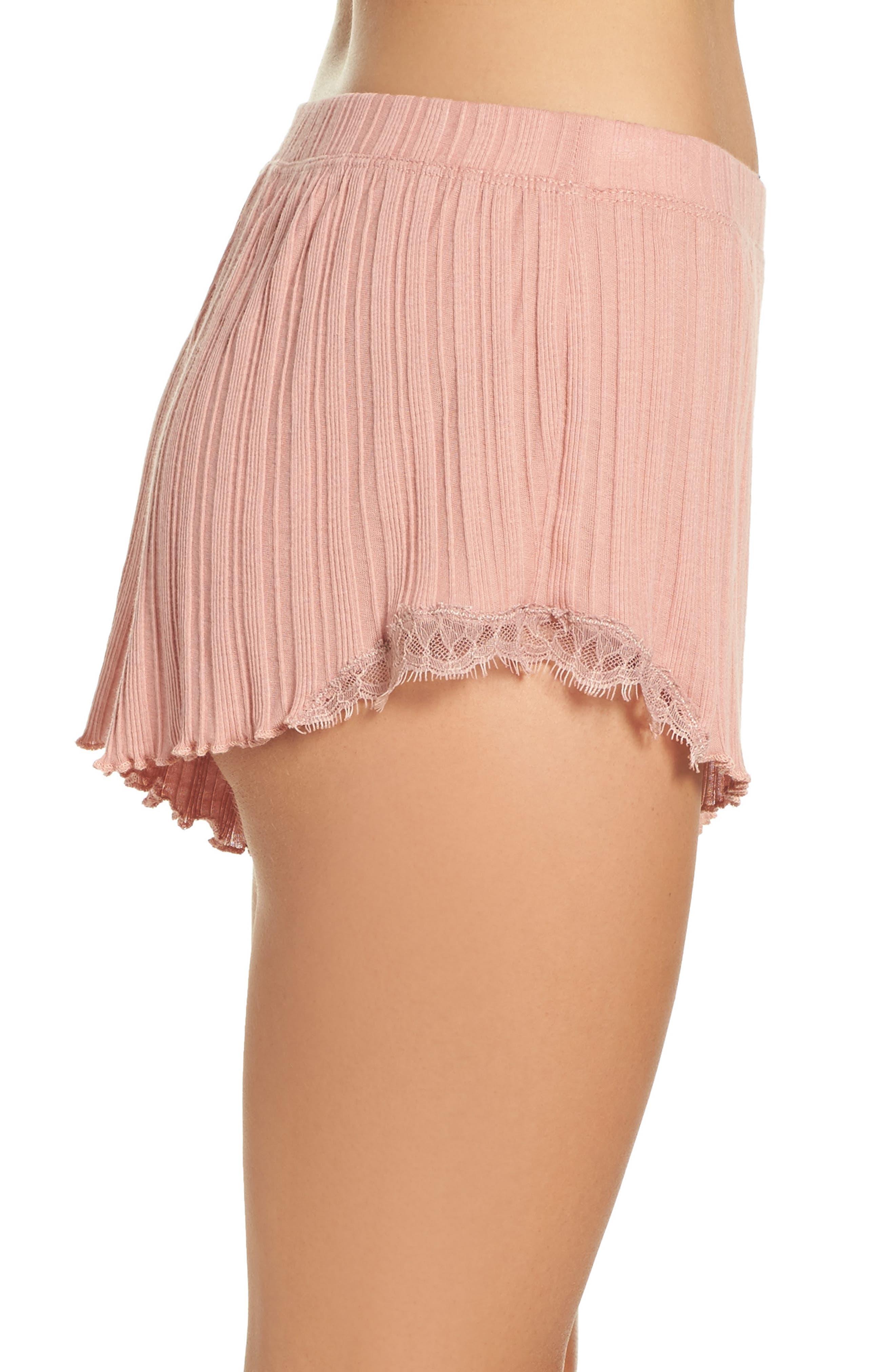 Ribbed Shorts,                             Alternate thumbnail 3, color,                             Vintage Pink