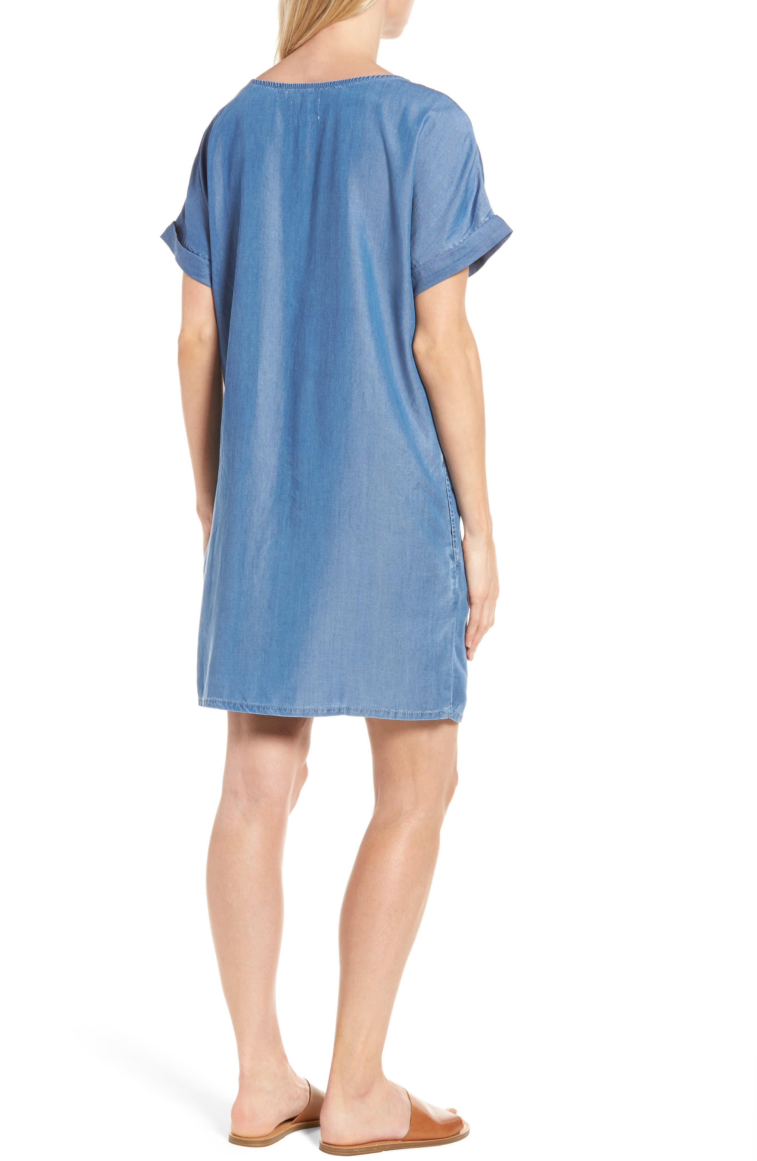 Alternate Image 2  - Caslon® Lace-Up Shift Dress (Regular & Petite)
