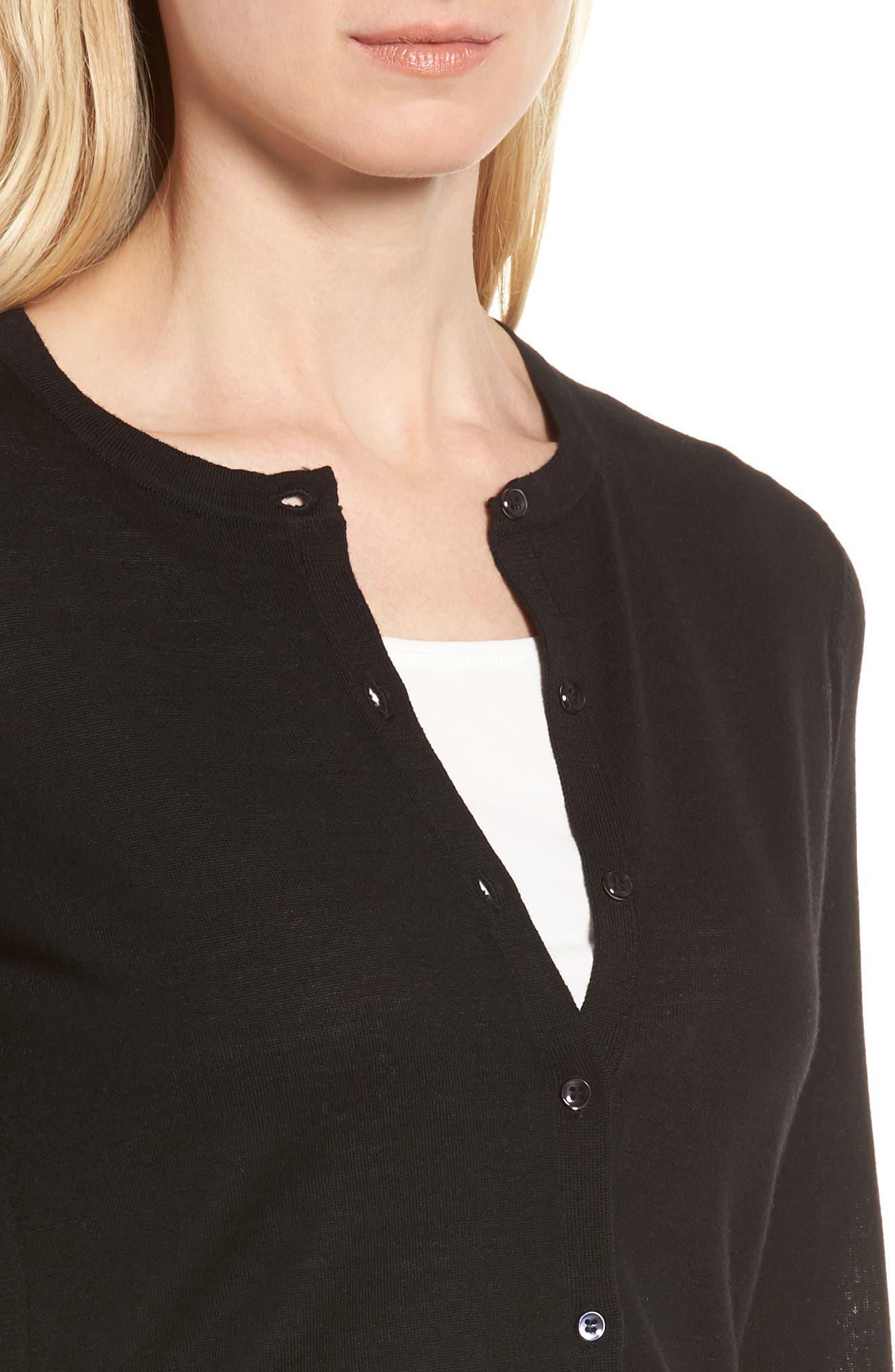 Italian Merino Wool Cardigan,                             Alternate thumbnail 4, color,                             Black