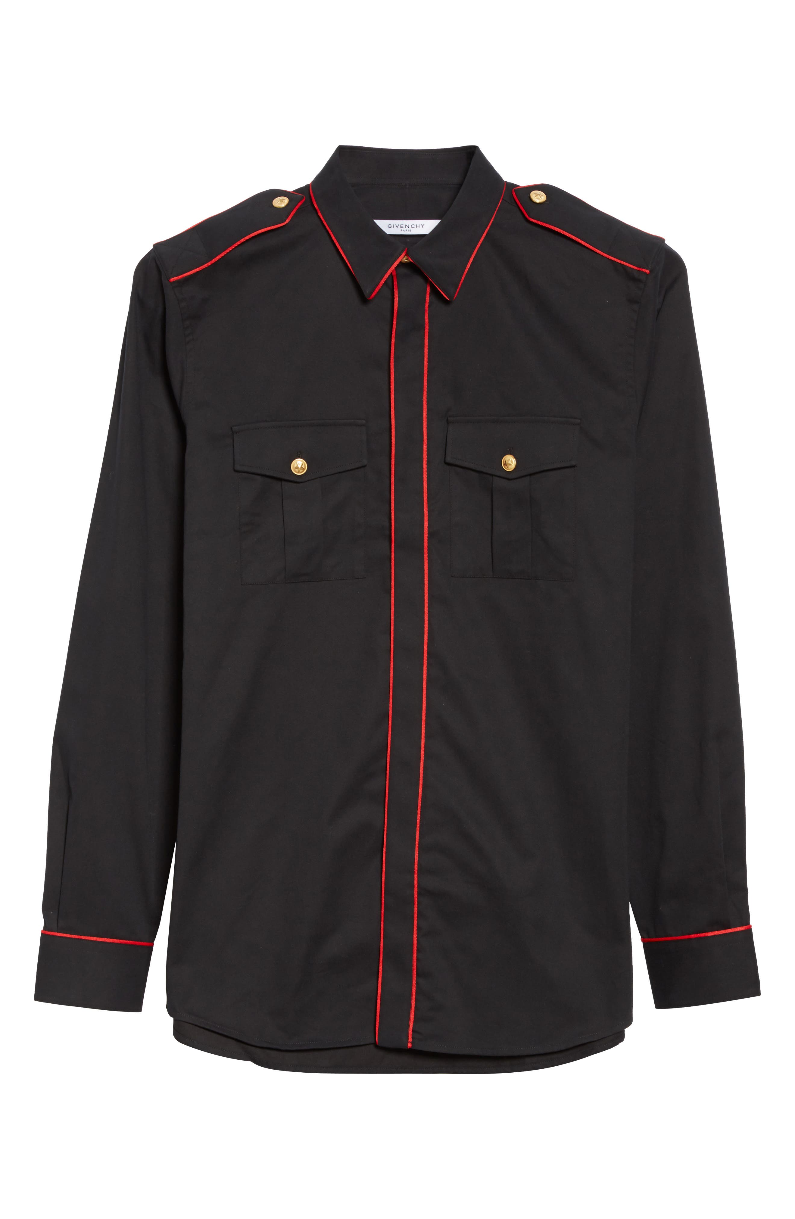 Piped Officer Shirt,                             Alternate thumbnail 6, color,                             Black