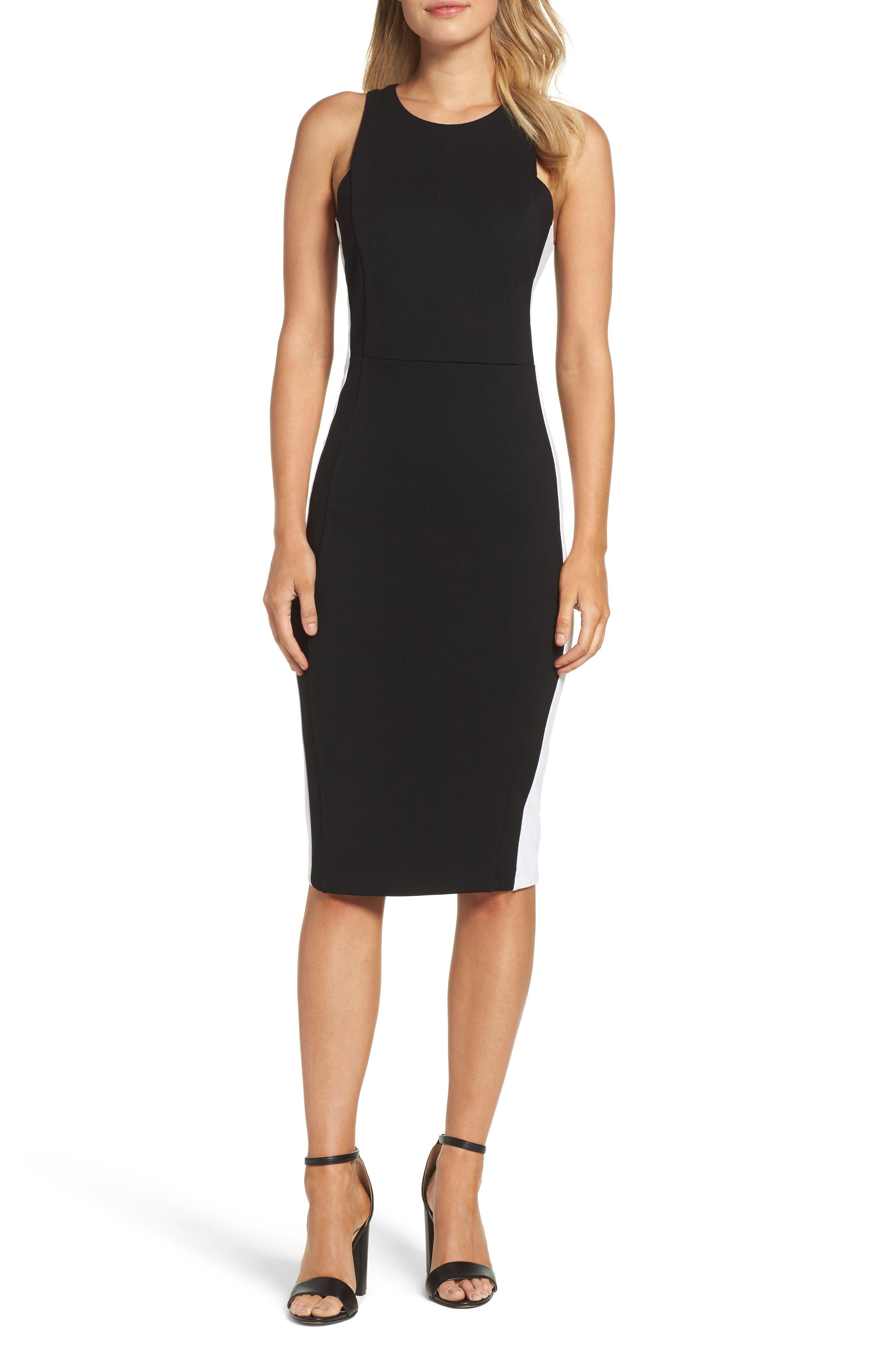 Orlanda Ponte Knit Sheath Dress,                             Main thumbnail 1, color,                             Black/ White