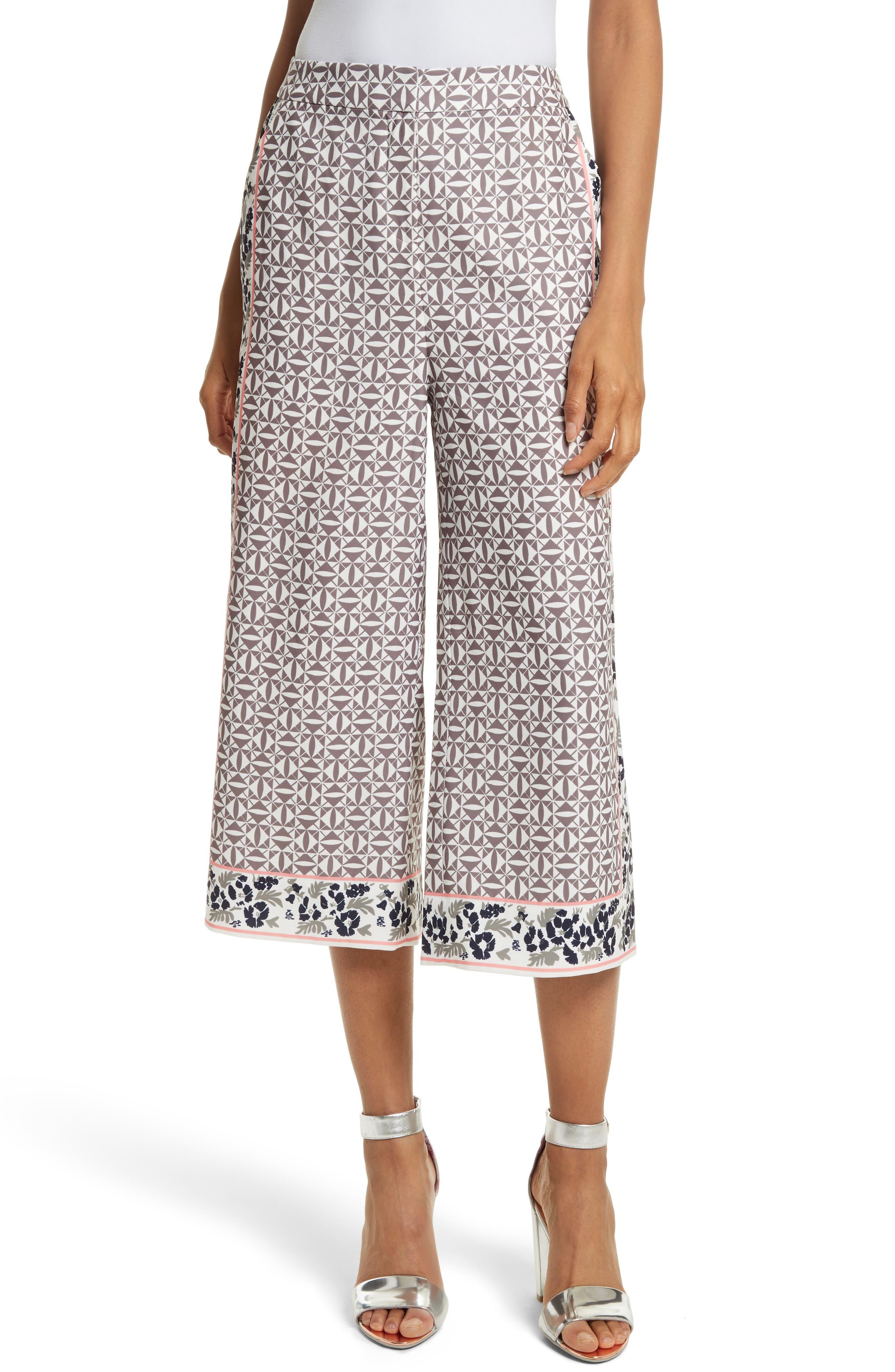 Kalid Wide Leg Ankle Pants,                         Main,                         color, Mid Grey