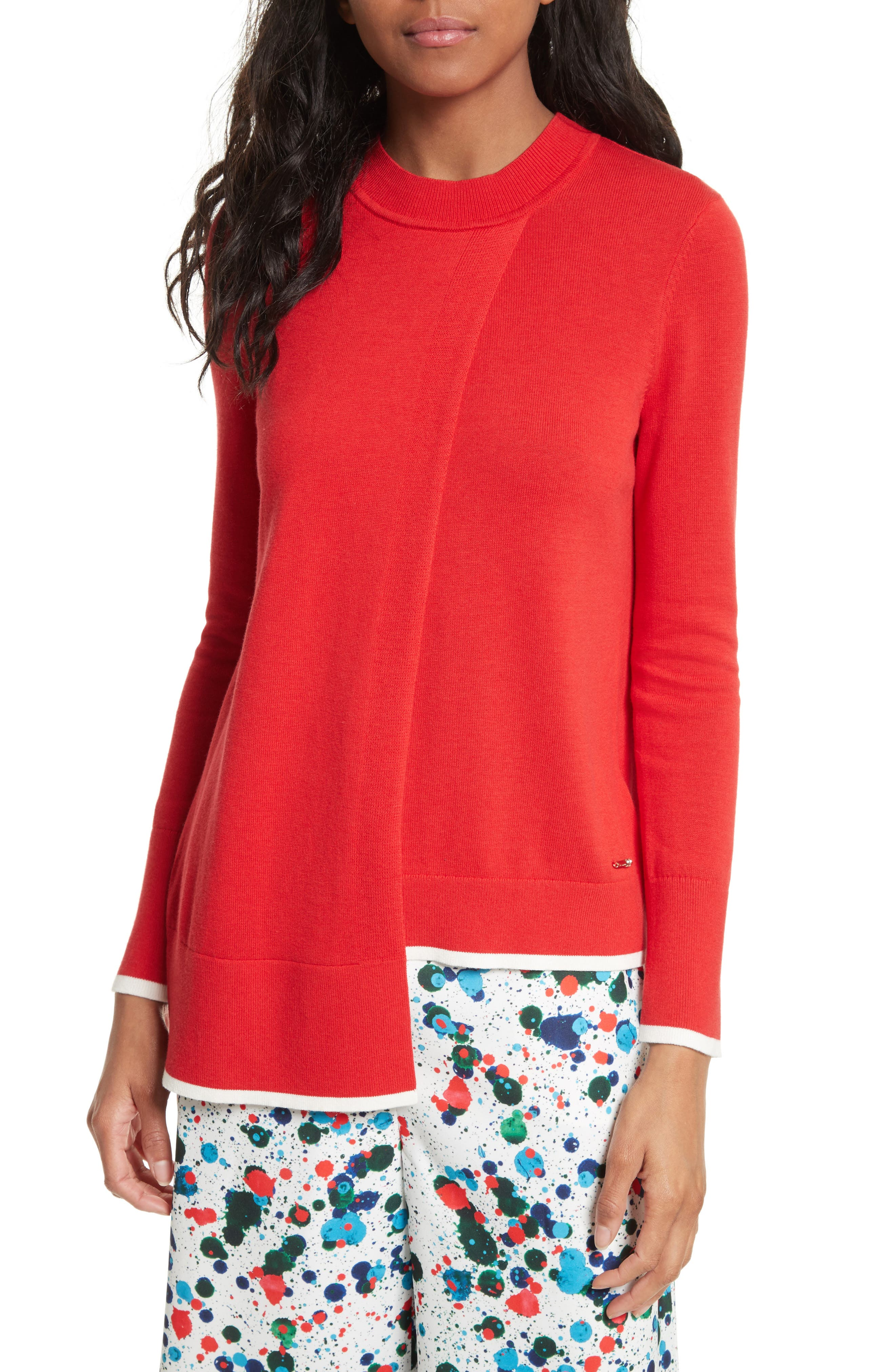 TED BAKER LONDON Ginati Tipped Crossover Sweater