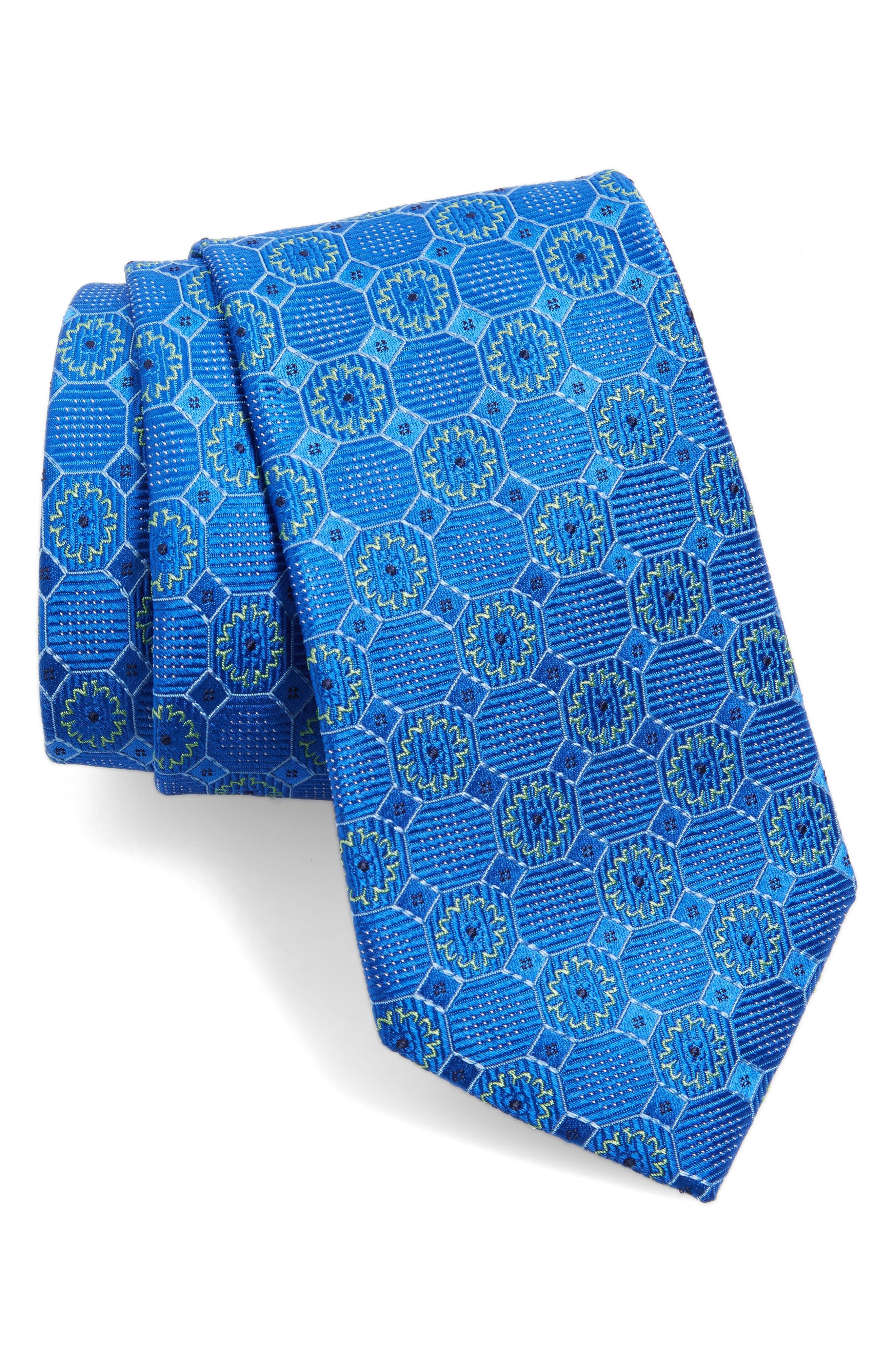 Medallion Silk Tie,                         Main,                         color, Royal Blue