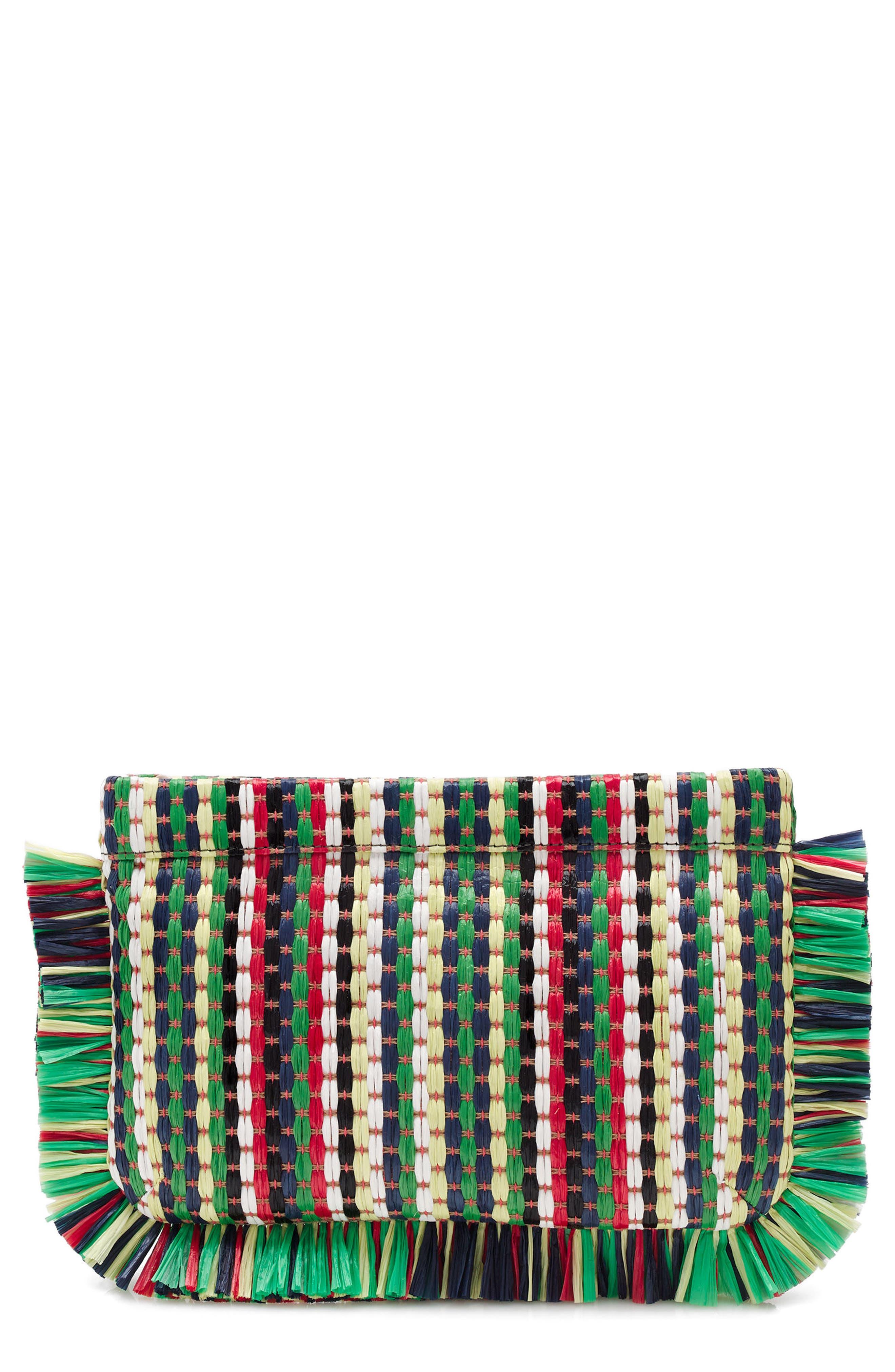 J.Crew Stripe Straw Clutch Bag