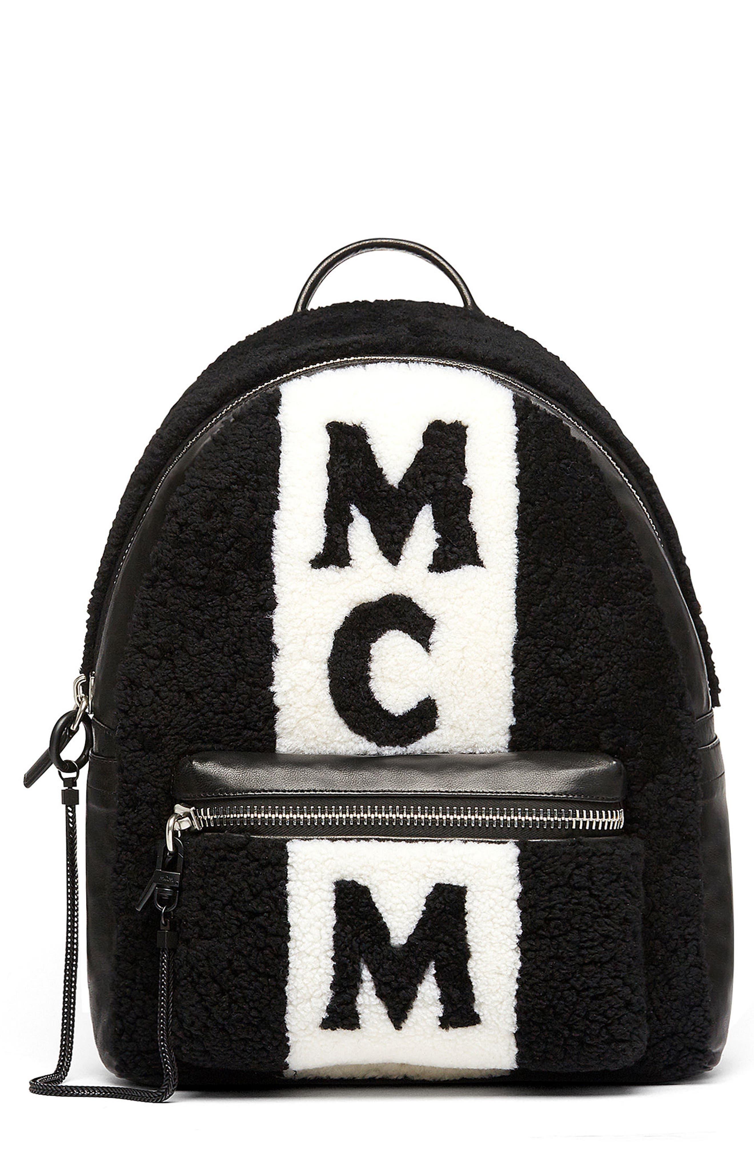 MCM Stark Genuine Shearling Stripe Canvas Backpack