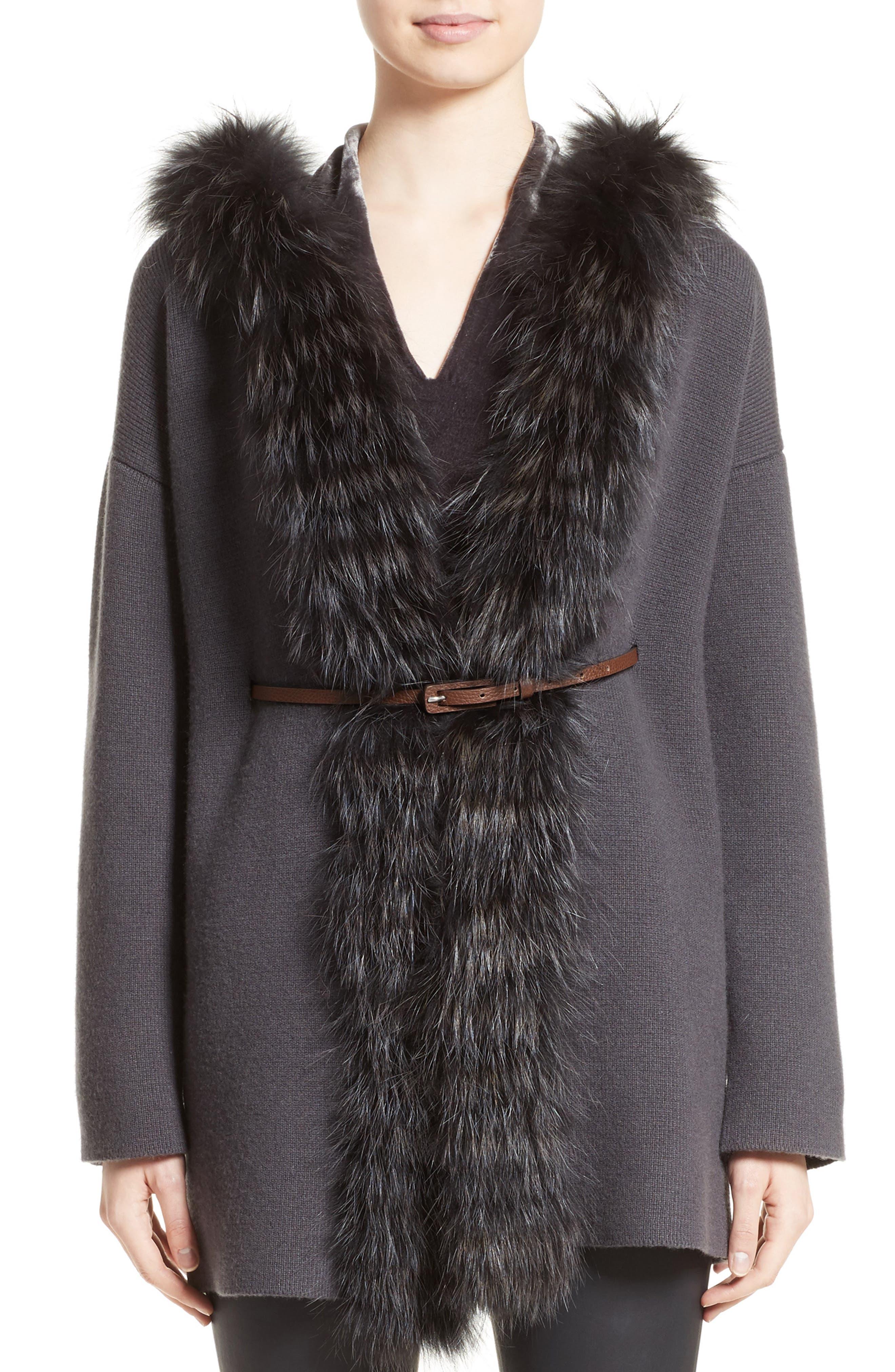 Fabiana Filippi Belted Cashmere Hoodie with Genuine Fox Fur Trim