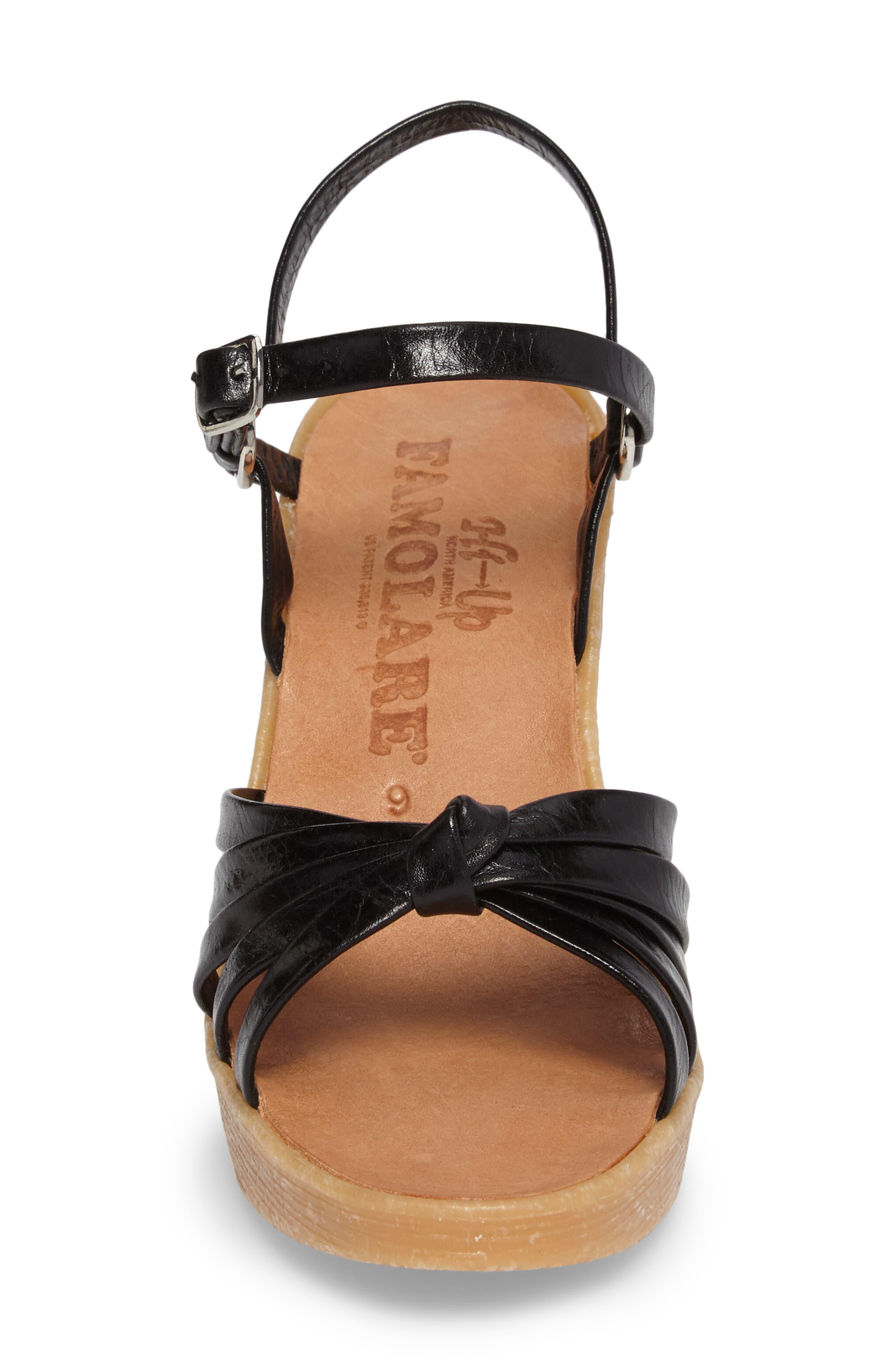 Knotty Monkey Wedge Sandal,                             Alternate thumbnail 4, color,                             Coal Leather