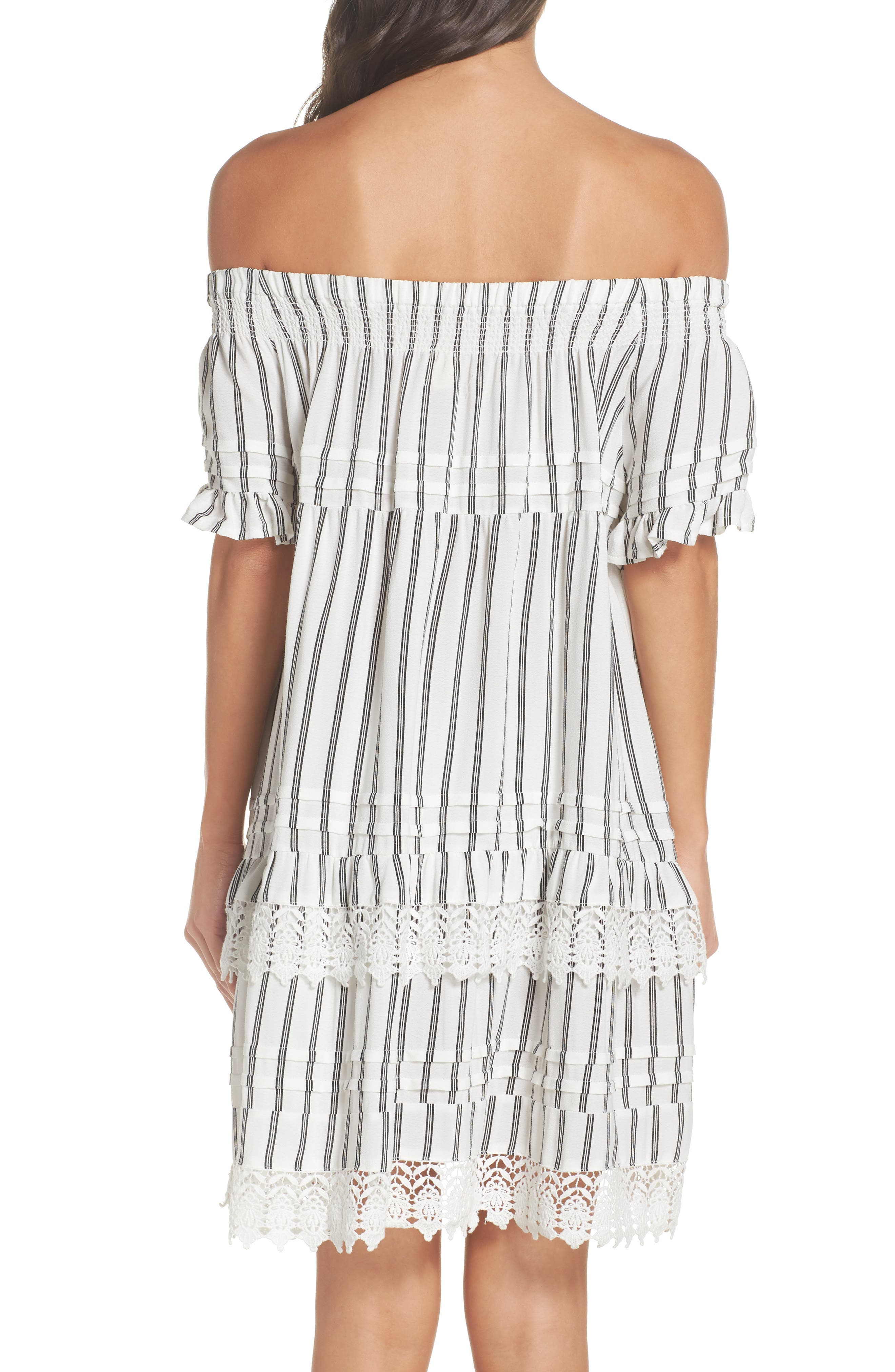 Off the Shoulder Cover-Up Dress,                             Alternate thumbnail 3, color,                             Ivory/ Black