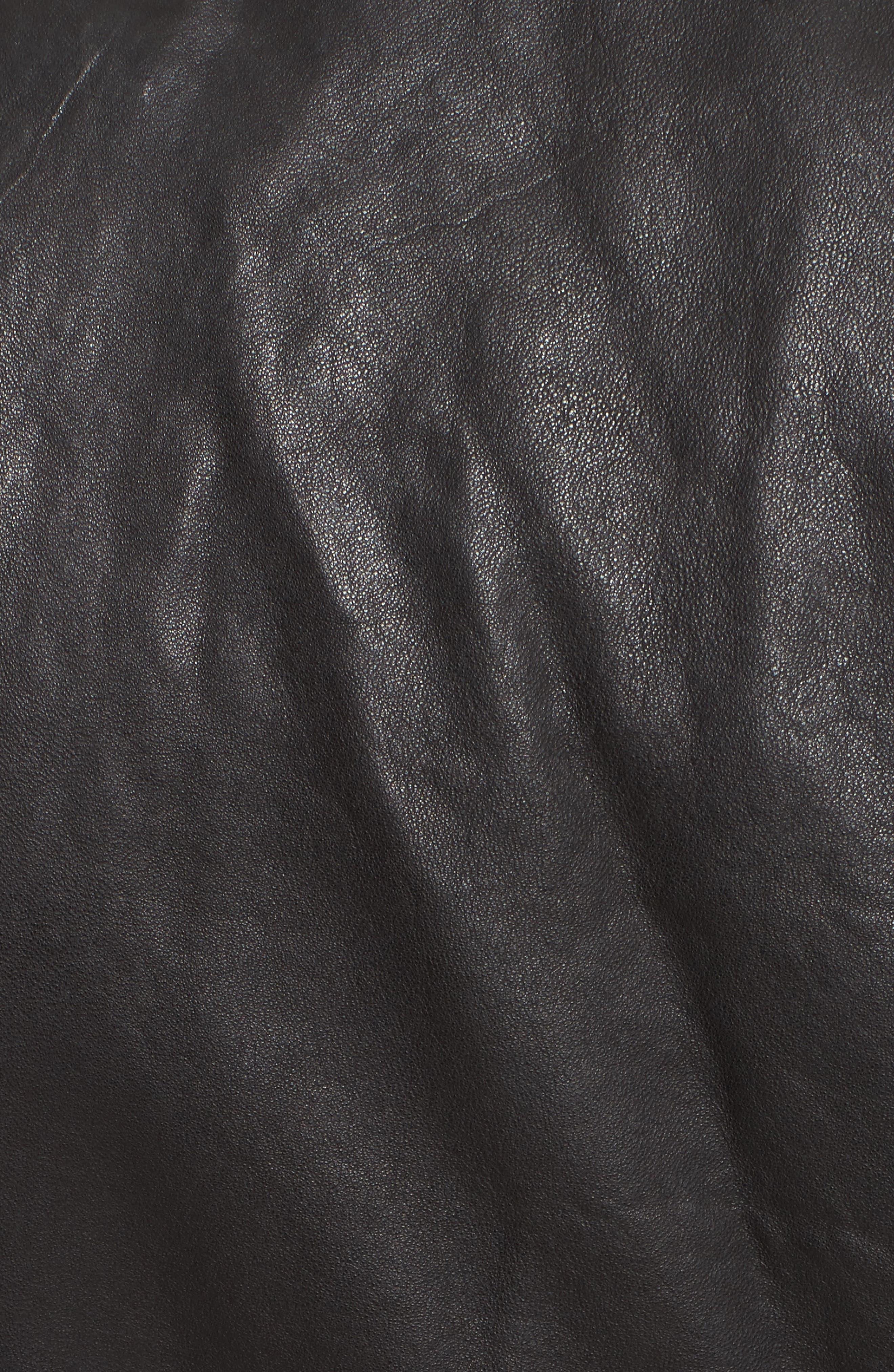 Lyon Leather Jacket,                             Alternate thumbnail 5, color,                             Black