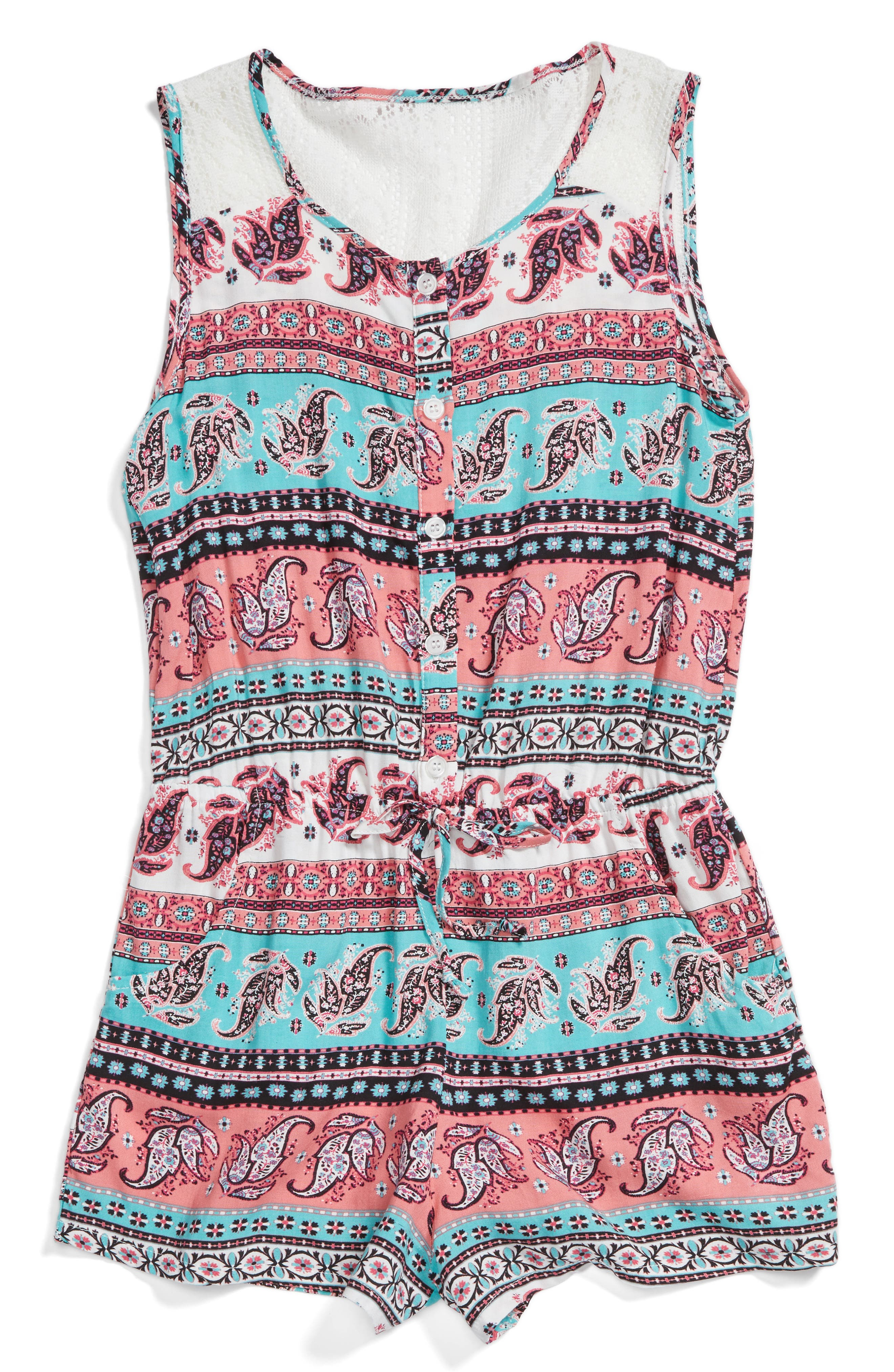 Mia Chica Lace Back Romper (Big Girls)