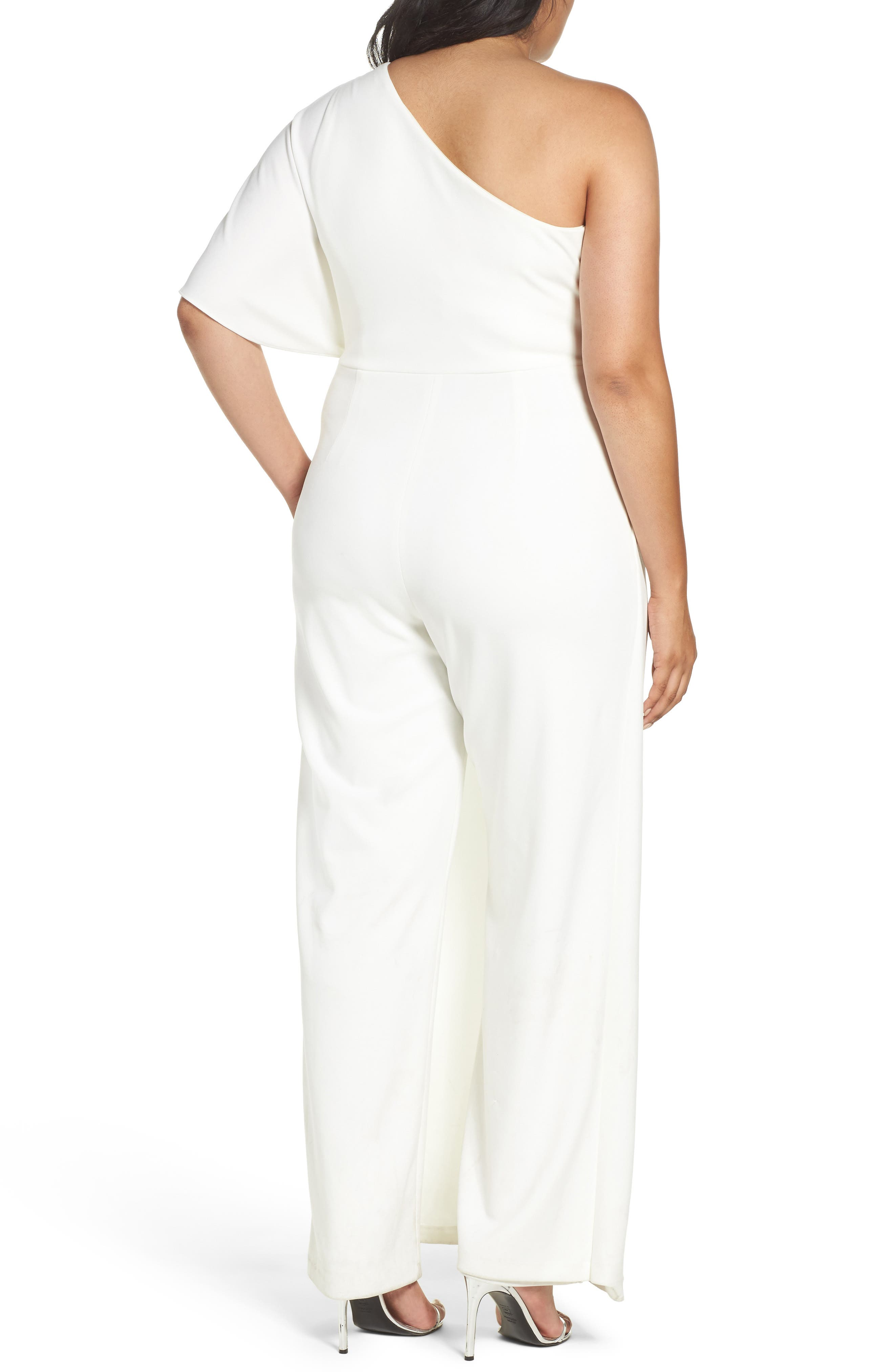 Alternate Image 3  - Adrianna Papell One-Shoulder Jumpsuit (Plus Size)