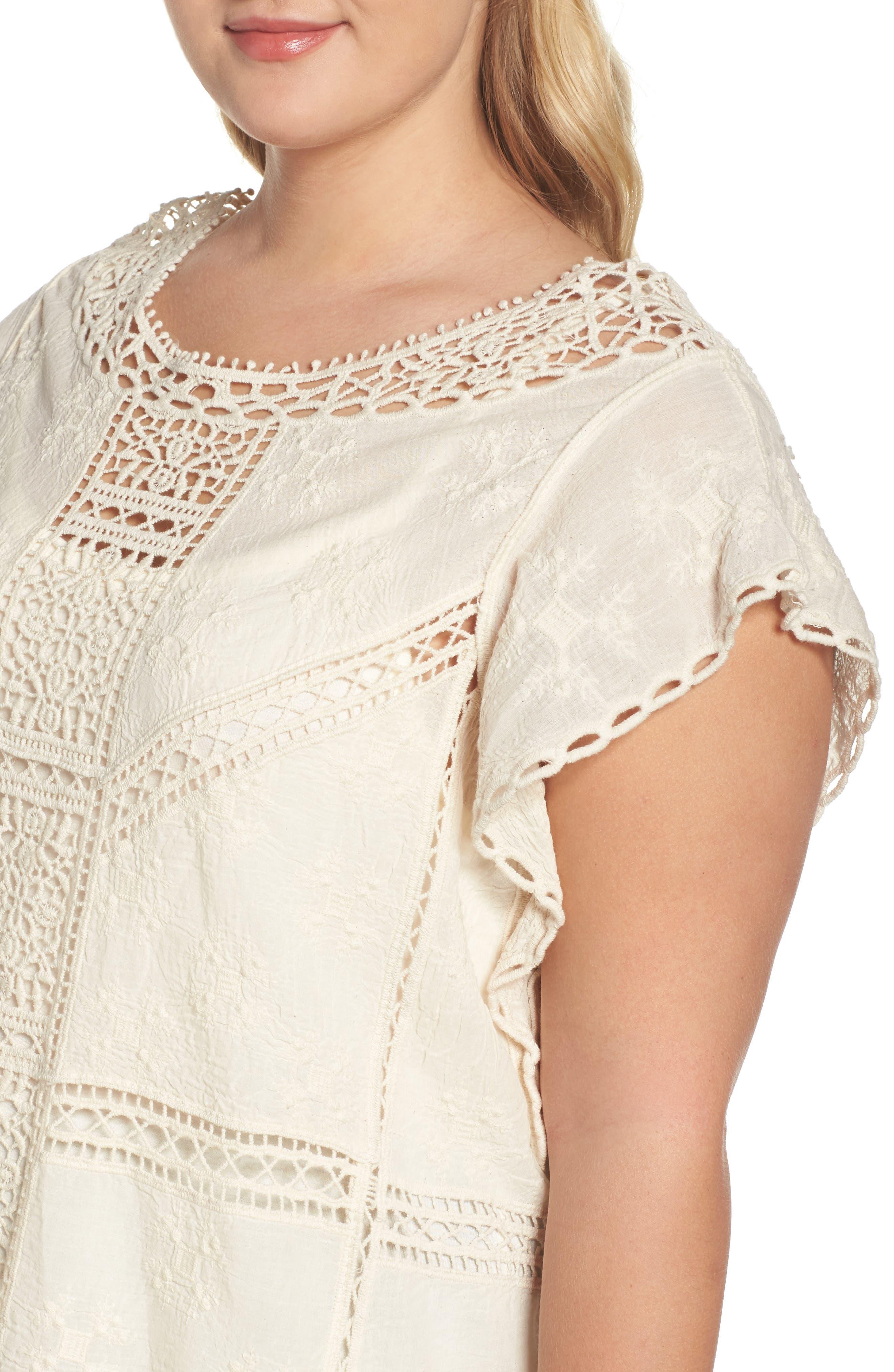 Alternate Image 4  - Wit & Wisdom Flutter Sleeve Crochet Top (Plus Size) (Nordstrom Exclusive)