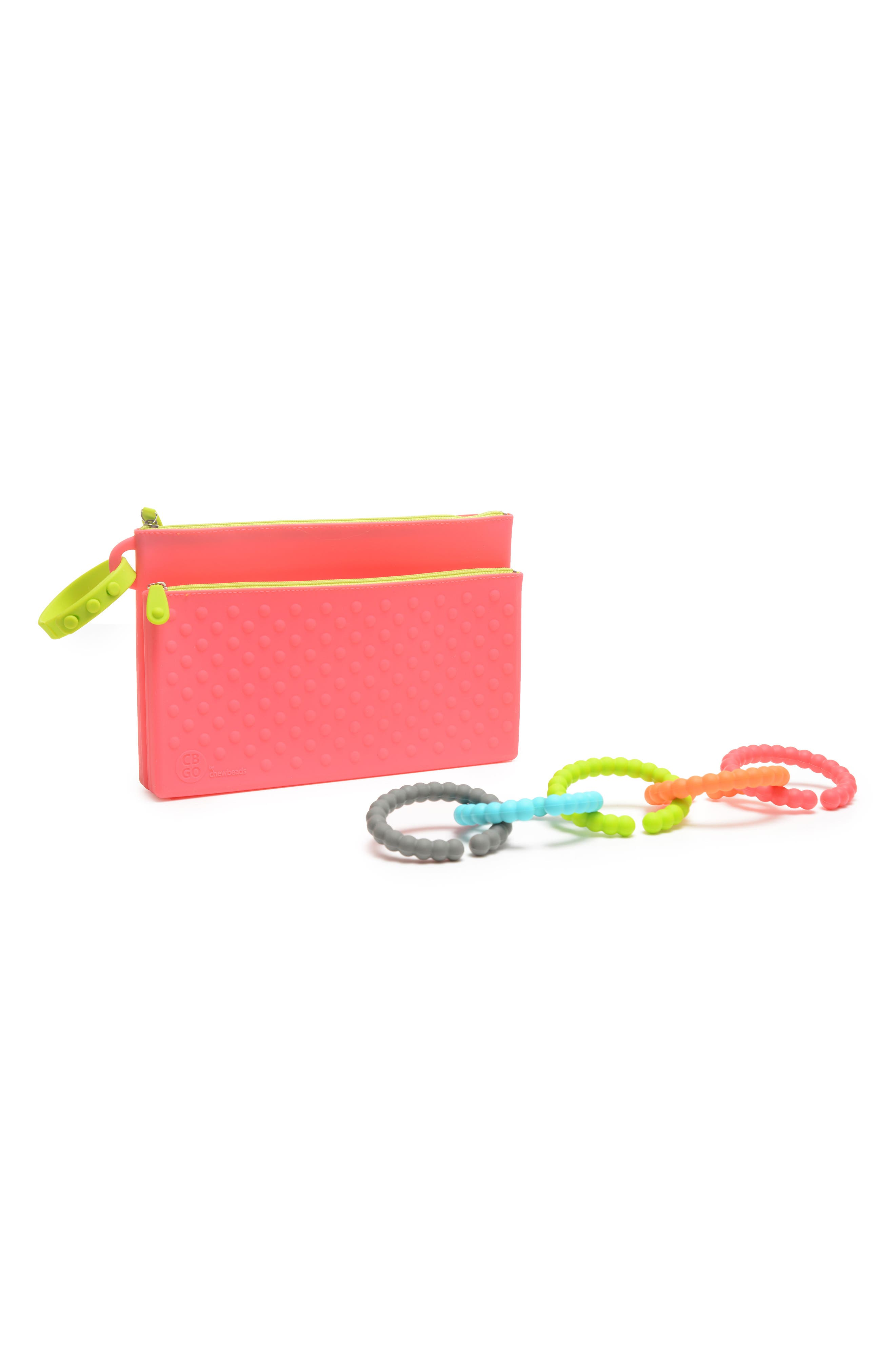GO Wipes Case & Teething Links Set,                         Main,                         color, Punchy Pink
