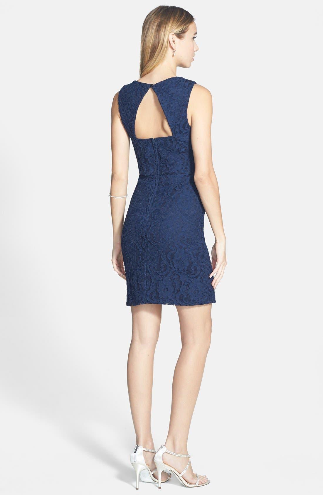 Alternate Image 2  - Way-In Illusion Neckline Lace Body-Con Dress (Juniors)