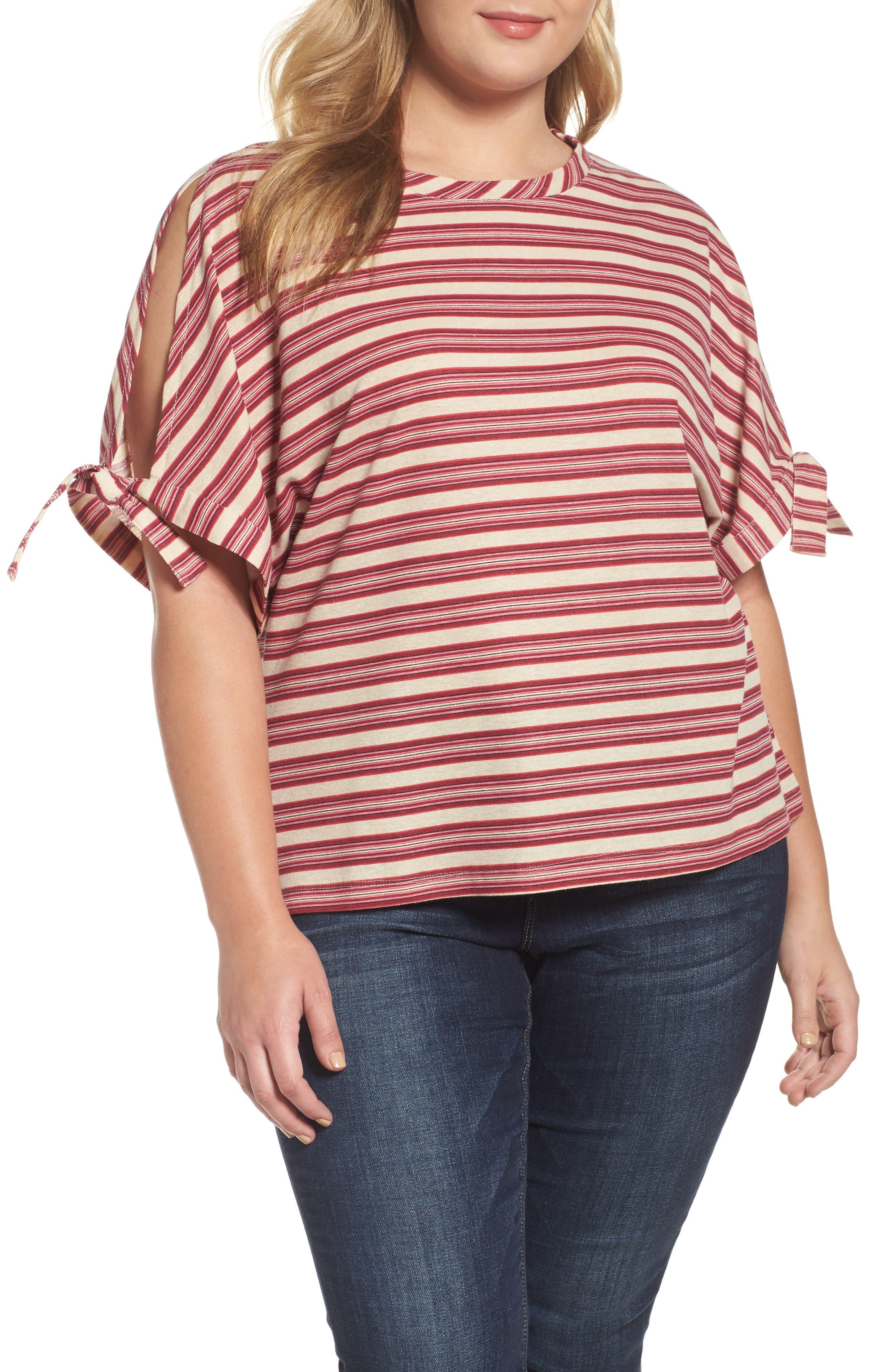 Stripe Tie Sleeve Tee,                         Main,                         color, Rhubarb