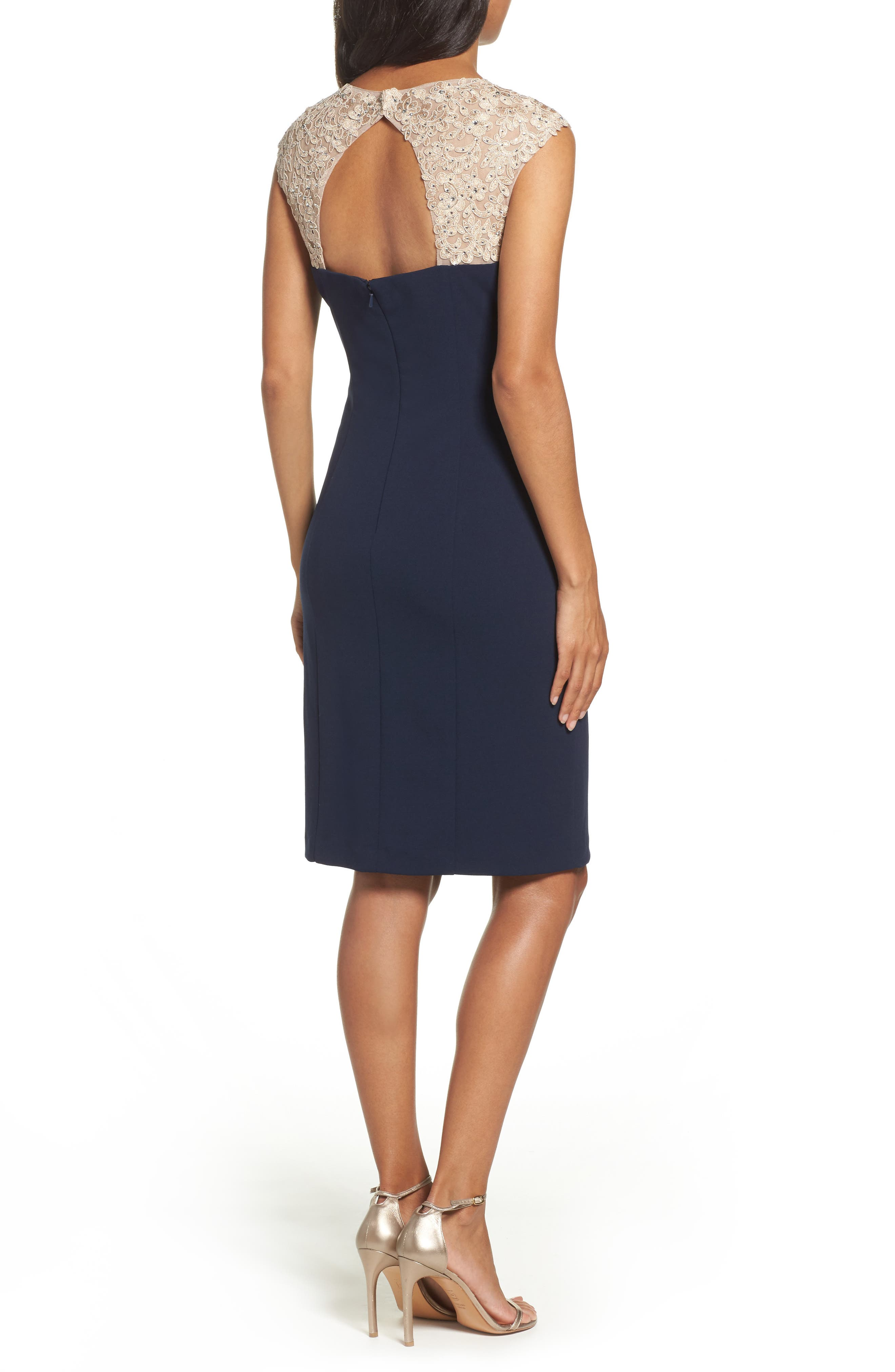 Embellished Sheath Dress,                             Alternate thumbnail 2, color,                             Navy/ Nude