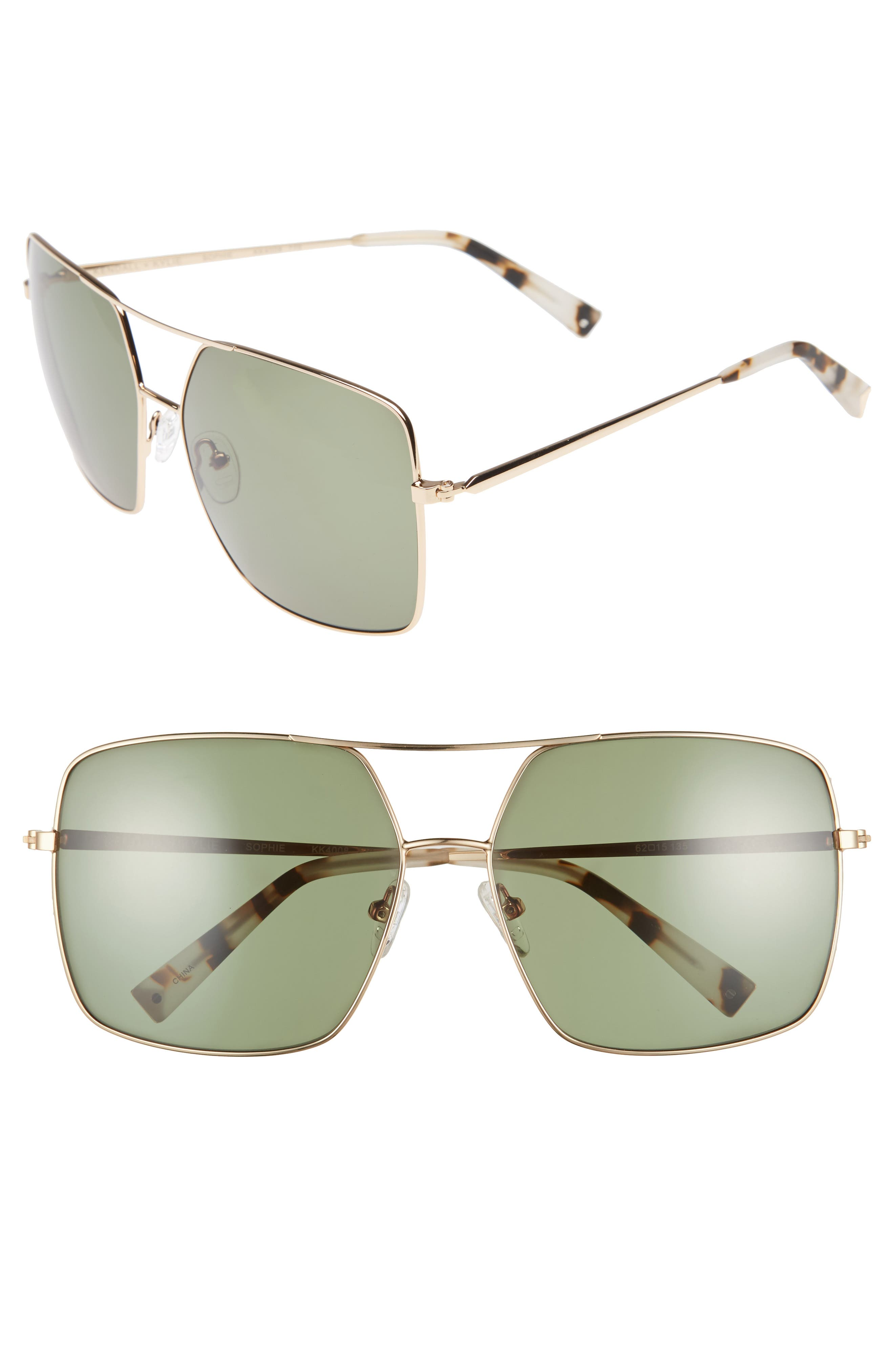65mm Navigator Sunglasses,                         Main,                         color, Gold/ Green