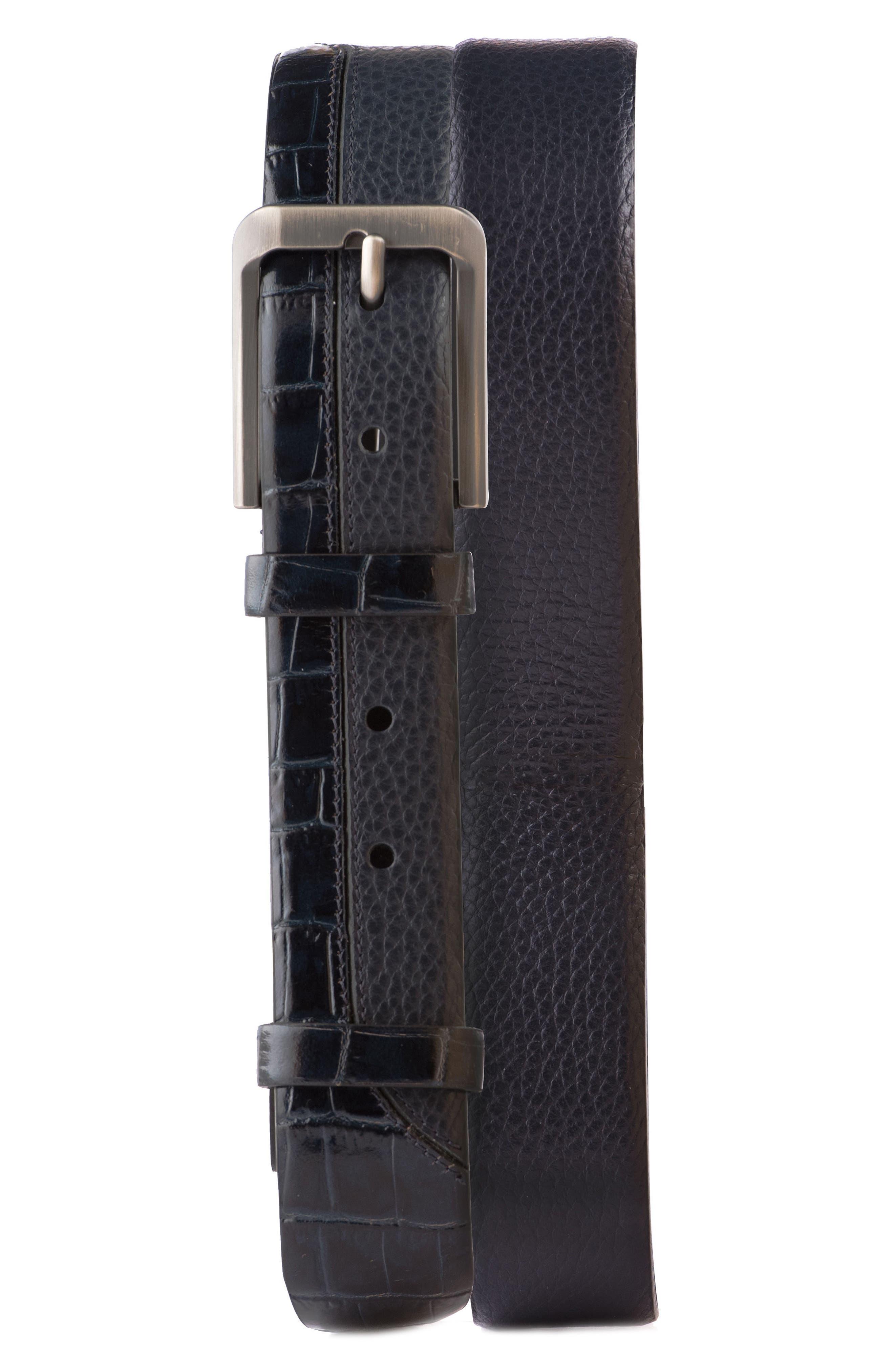 Alligator Embossed Leather Belt,                         Main,                         color, Black