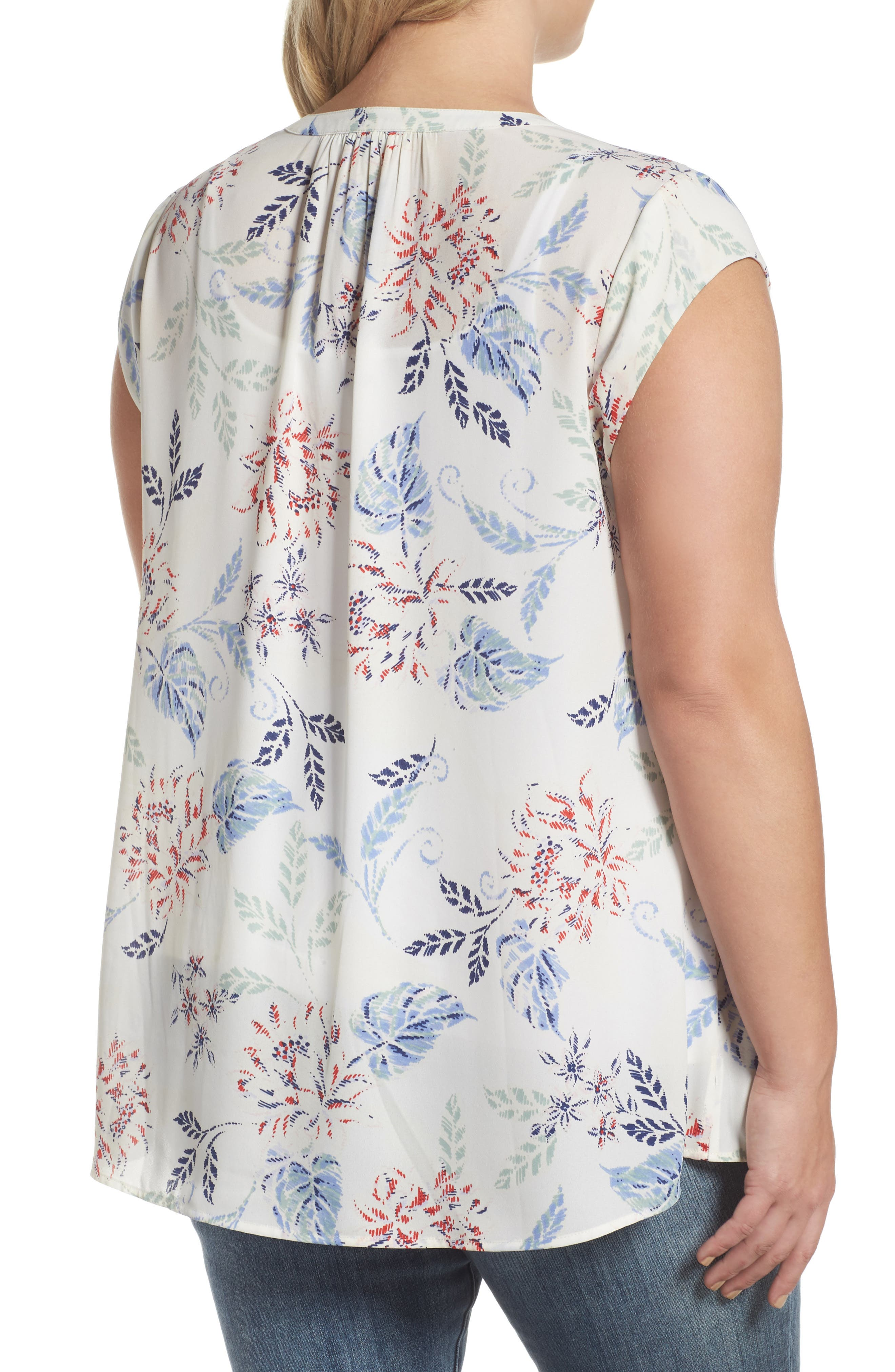 Alternate Image 2  - Daniel Rainn Floral Print Cap Sleeve Blouse (Plus Size)