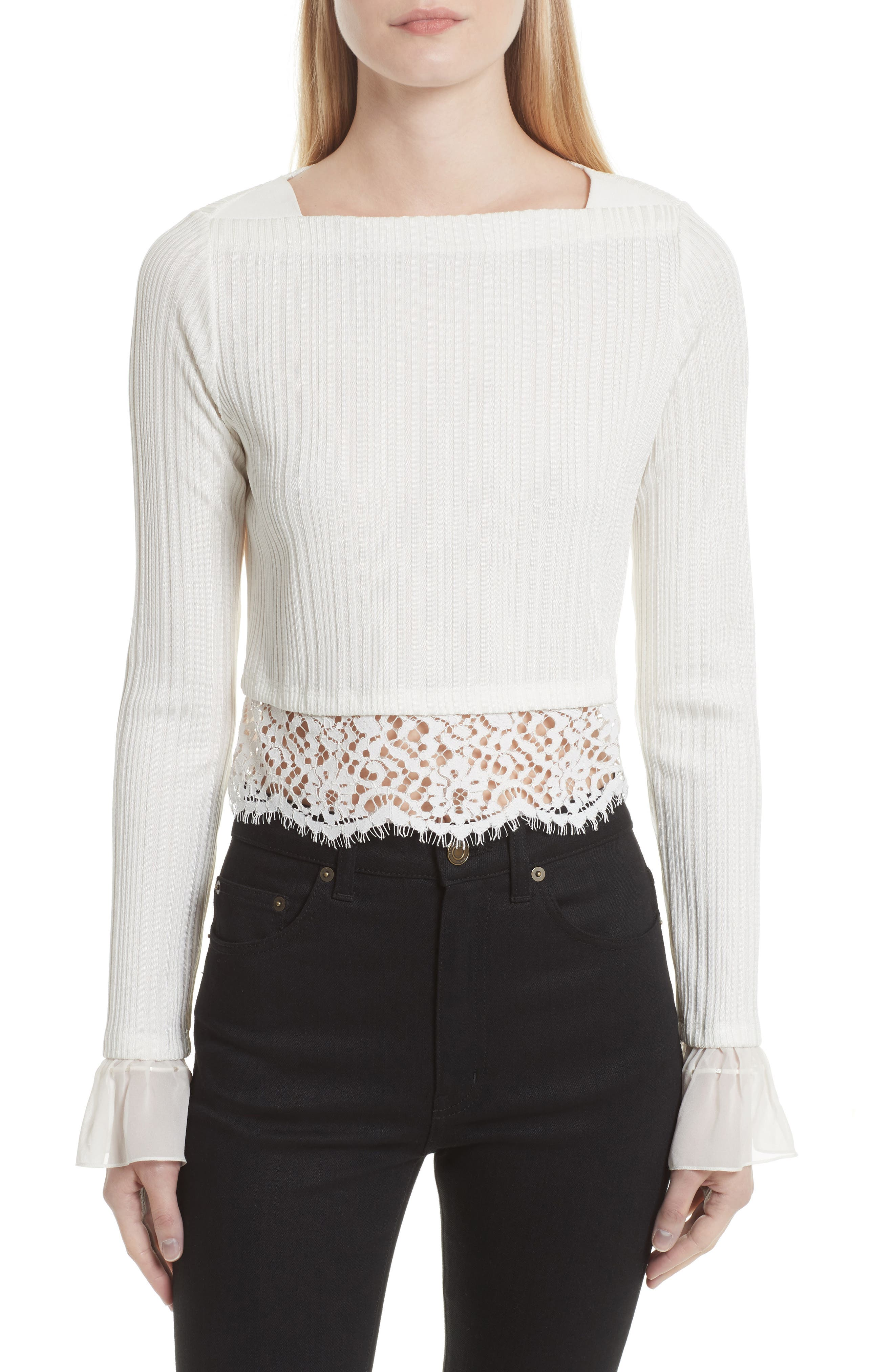 3.1 Phillip Lim Lace Hem Crop Top