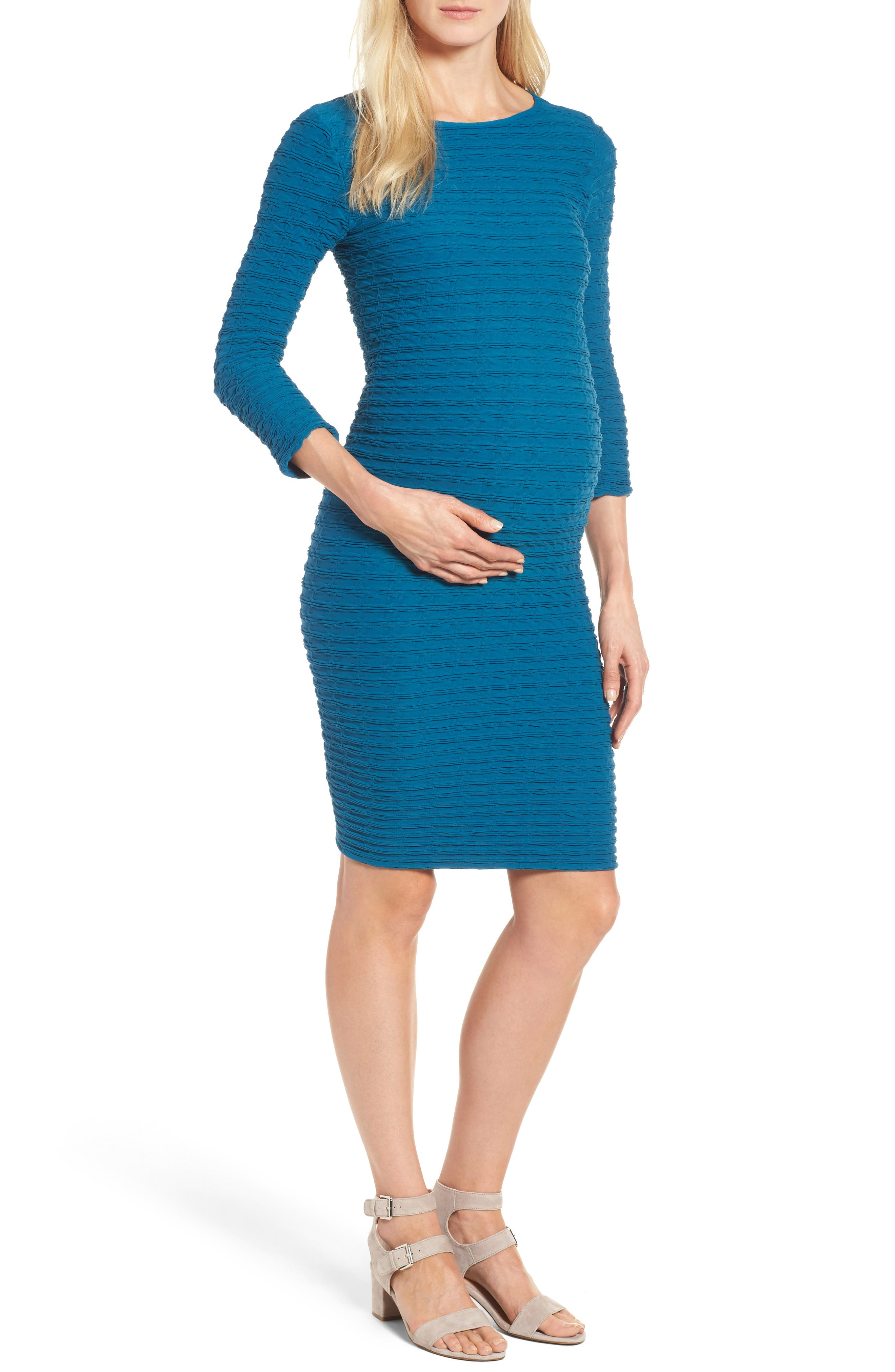 Alternate Image 1 Selected - Tees by Tina 'Crinkle' Maternity Midi Dress