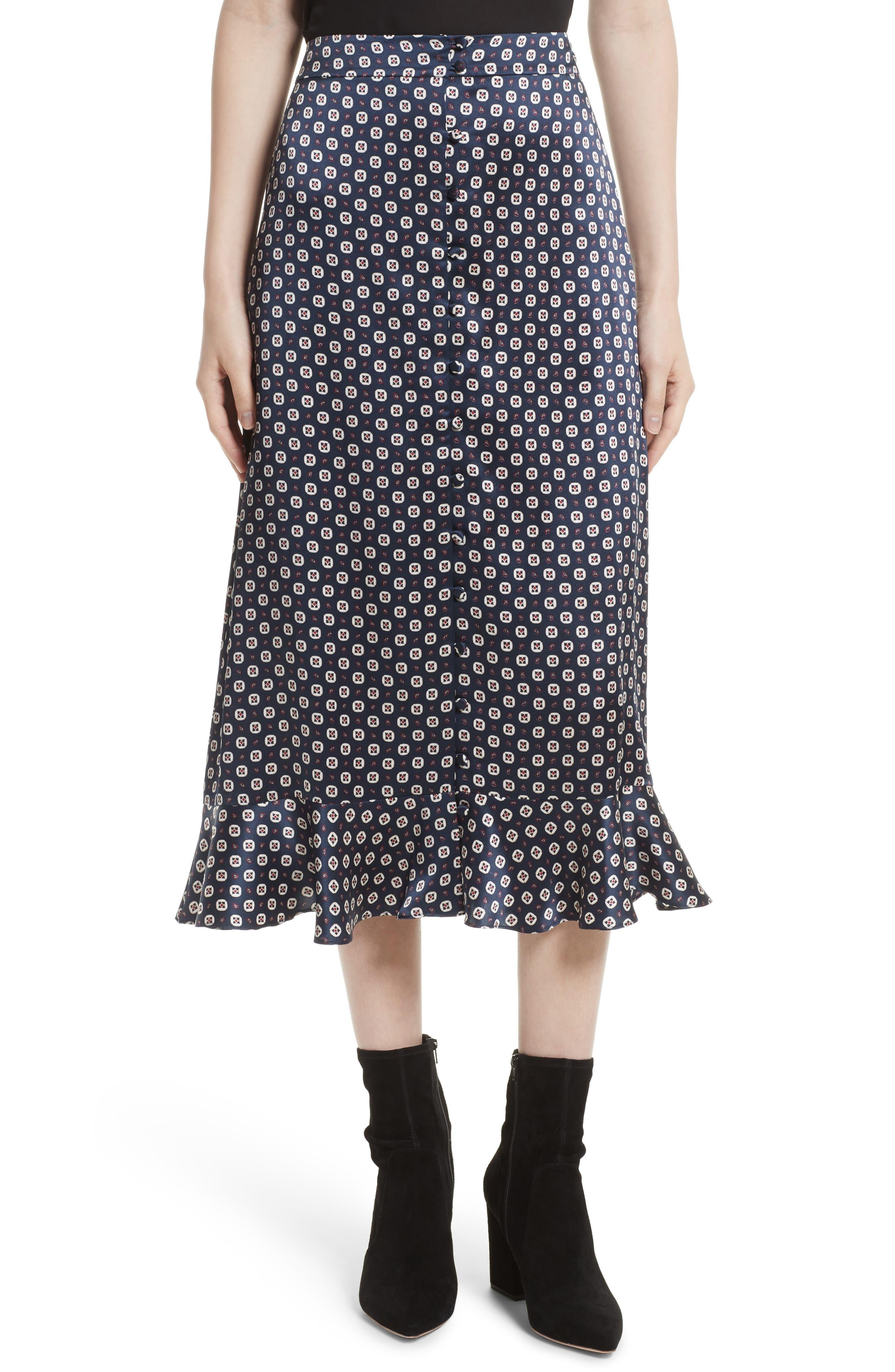 Print Silk Midi Skirt,                         Main,                         color, Navy Multi