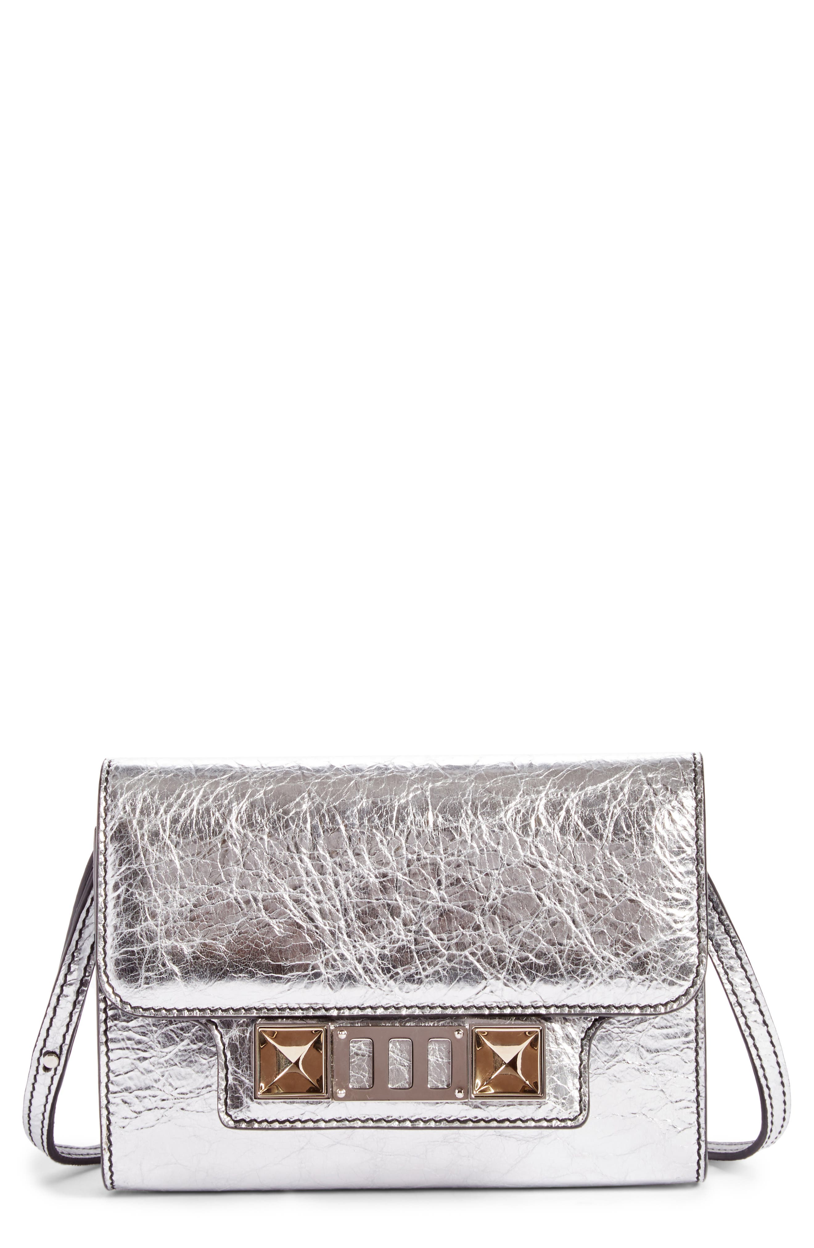 PS11 Leather Crossbody Wallet,                             Main thumbnail 1, color,                             Silver